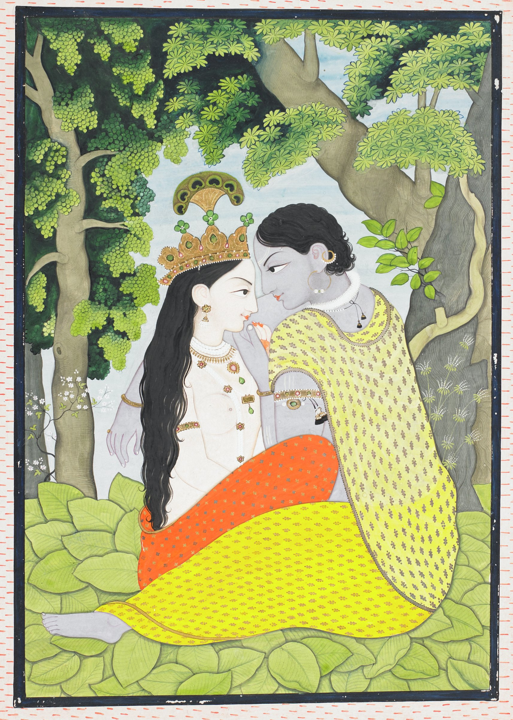 A painting of Radha and Krishna in an outdoor setting