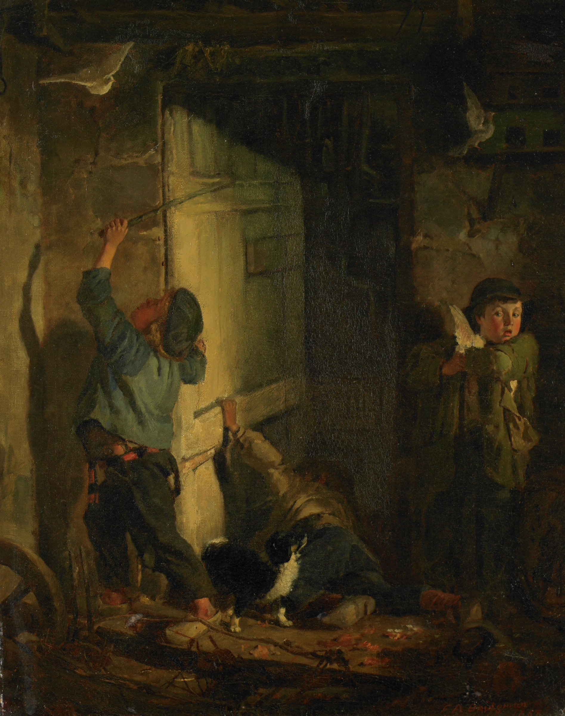 Robbing the Pigeon Roost (Chasing Doves), Frederic Arthur Bridgman, oil on canvas