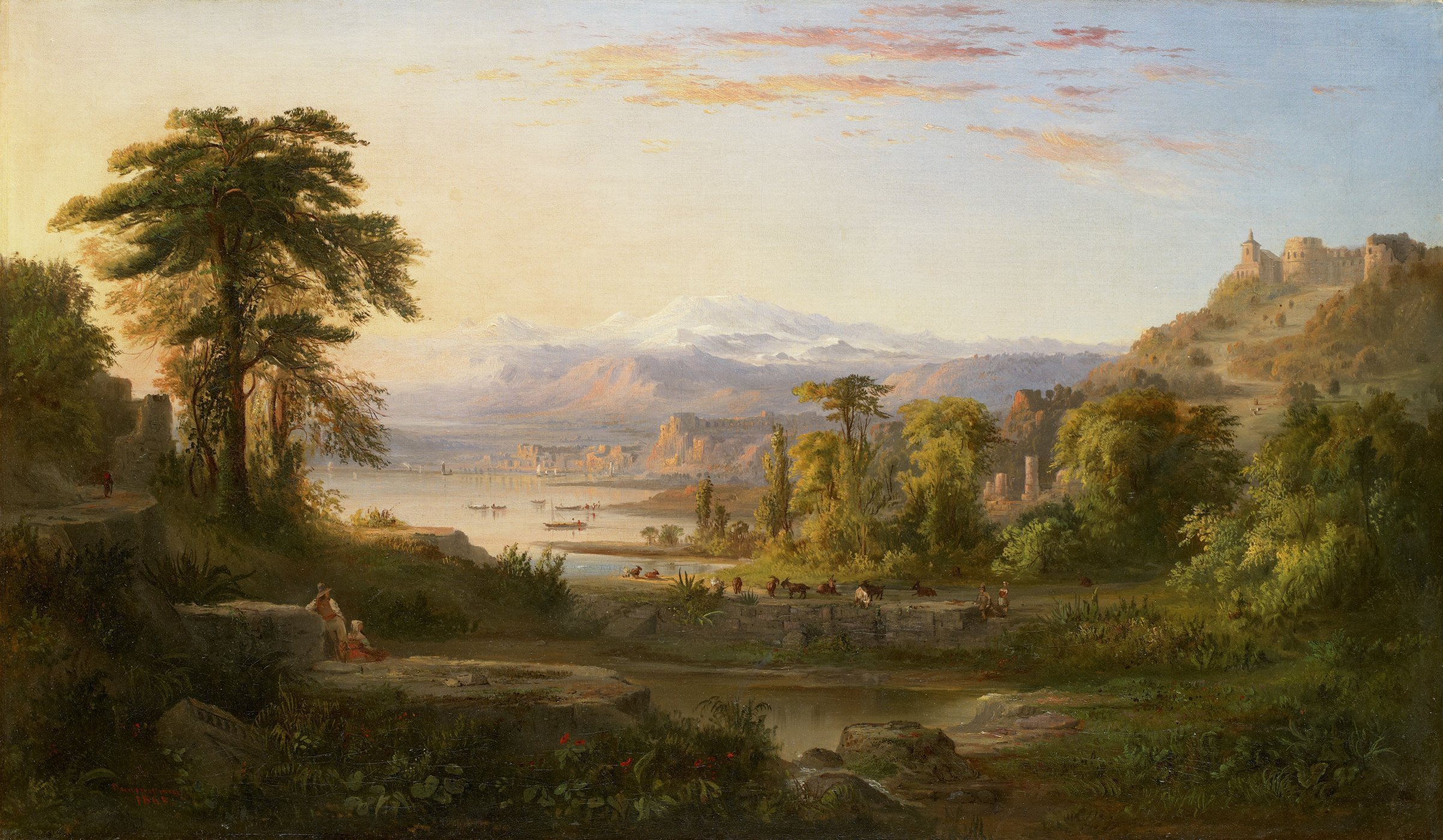 In this painted landscape, two figures, a man and a woman, rest in the left foreground, peering across a body of water to the opposite bank, where animals graze and another couple rests on the ground. In the background, to the left, boats are moored before Italian ruins, while snow-capped mountains rise in the distance. The entire scene is bathed in a warm peach-pink light emanating from the left.