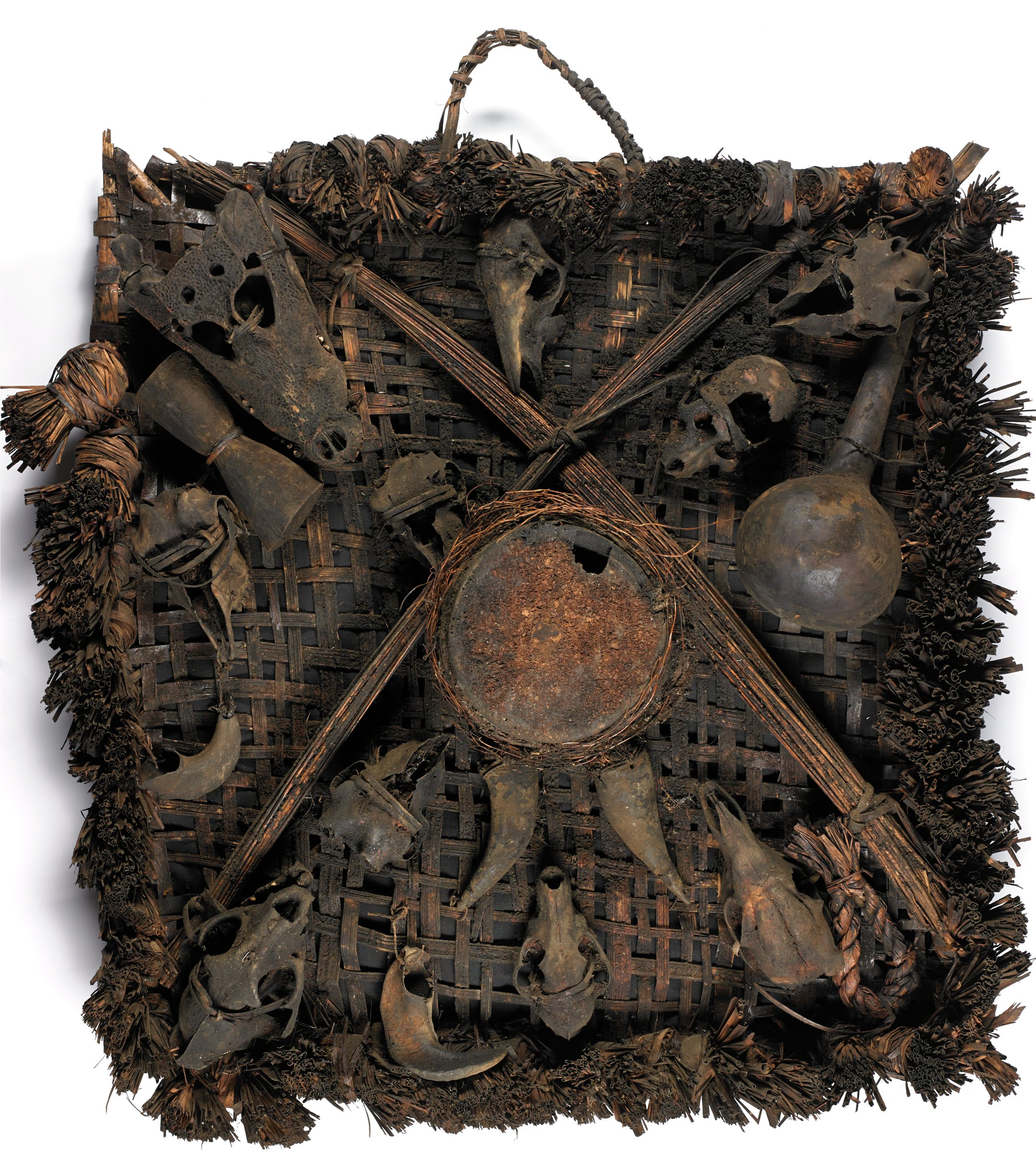 Society Emblem (drung mgbe), Ejagham people, Republic of Cameroon, and Nigeria, African, fiber, skulls, wood, horns, gourds, leather, and patina