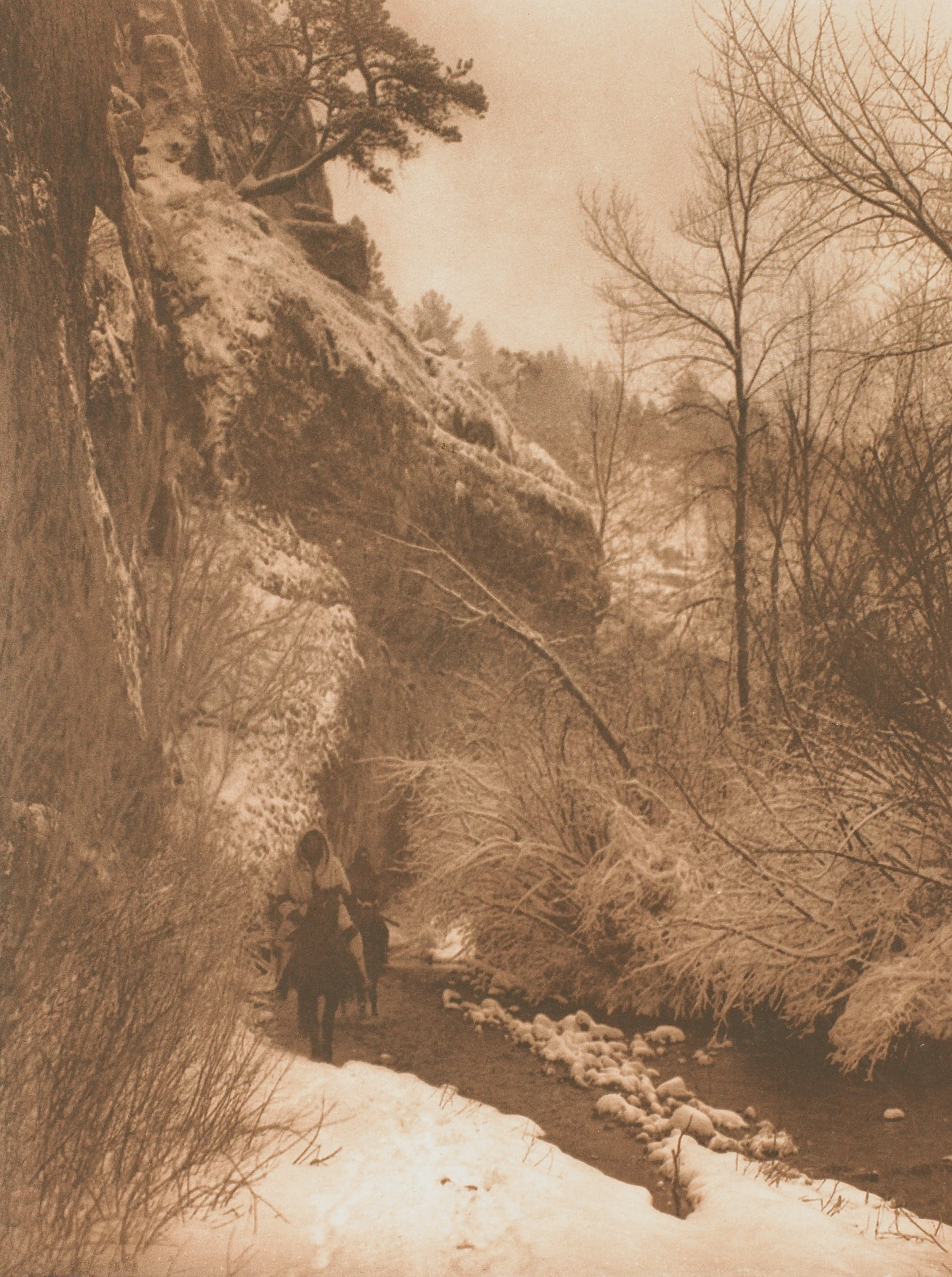 Passing The Cliff—Apsaroke, Edward Sheriff Curtis, John Andrew and Son, photogravure