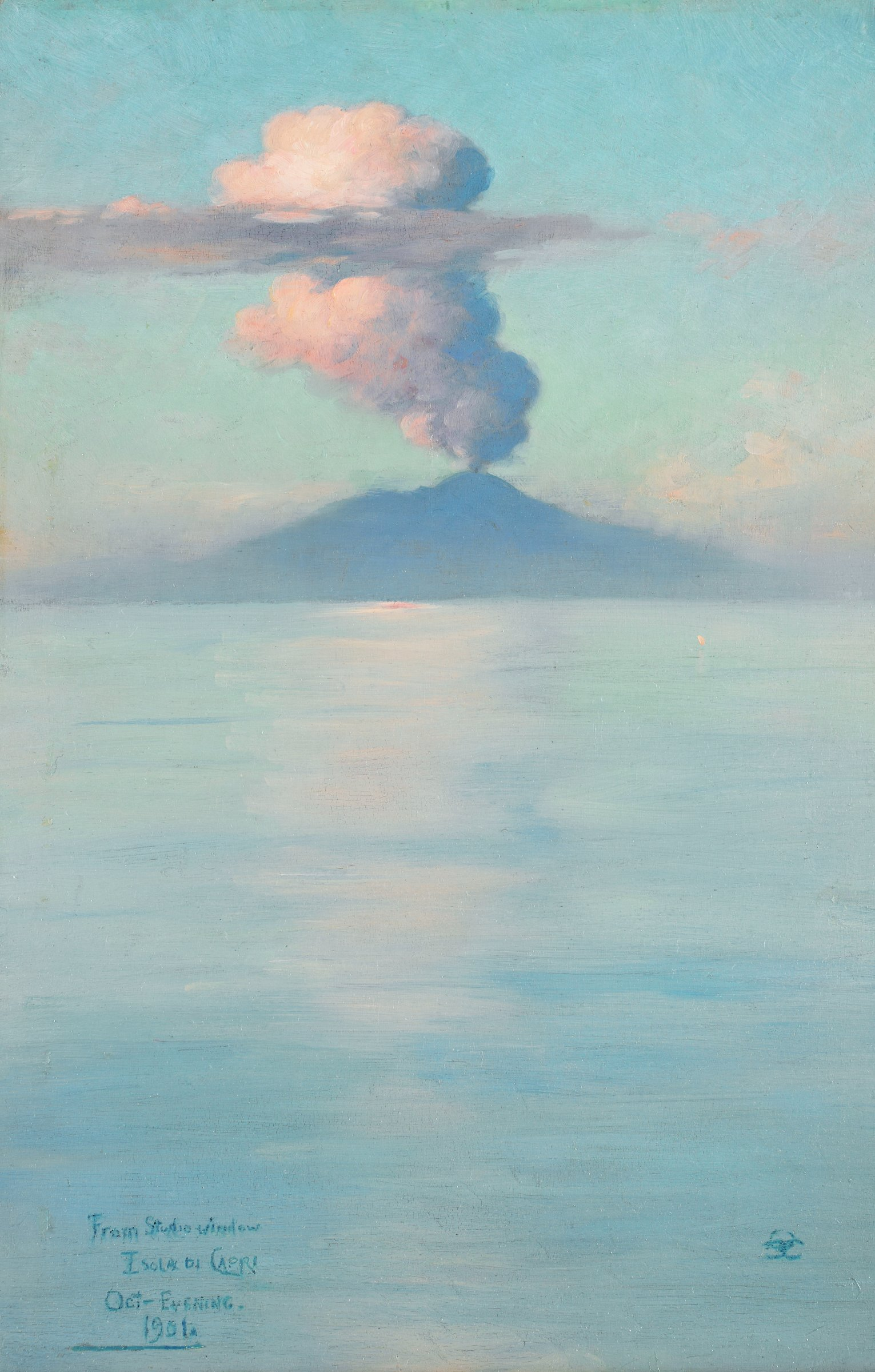 The work depicts an erupting volcano (Mount Vesuvius) with plume of ash and smoke in distant background, transected by a long horizontal cloud. A vast expanse of placid water (Tyrrhenian Sea), receding in space to the base of the volcano, fills the fore- and middle-ground.