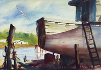 This watercolor represents a dry docked boat at the right of the composition. The boat is not entirely represented, but is instead cropped by the edge of the sheet. There is a ladder leaning against the side of the boat, and two posts prominently standing in the foreground. Behind the boat is a calm body of water, on which another boat can partially be seen. In the distance is a house and a loose green passage, alluding to a landscape.