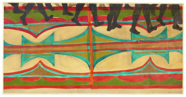 Horizontal painting with procession of  walkers, only lower half of legs shown; abstracted patterns typical of parfleche paintings form walking path beneath their feet.