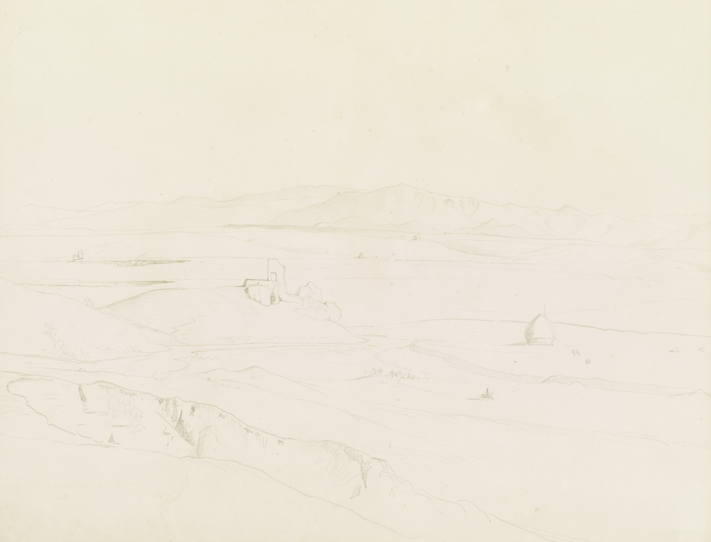 Campagna Romana, William Stanley Haseltine, pencil on paper