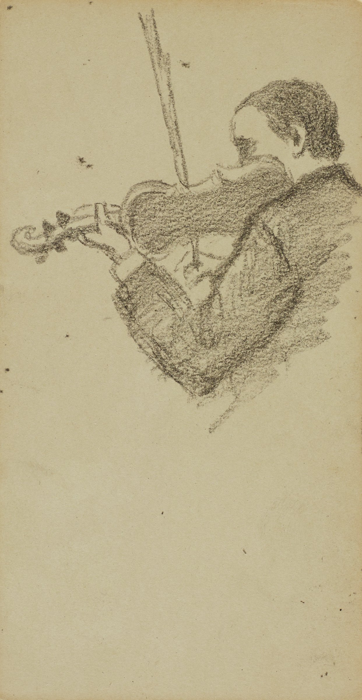 This pencil drawing represents a bust-length portrait of violinist facing left. He is holding the neck of his violin with his left hand and his bow in his right.
