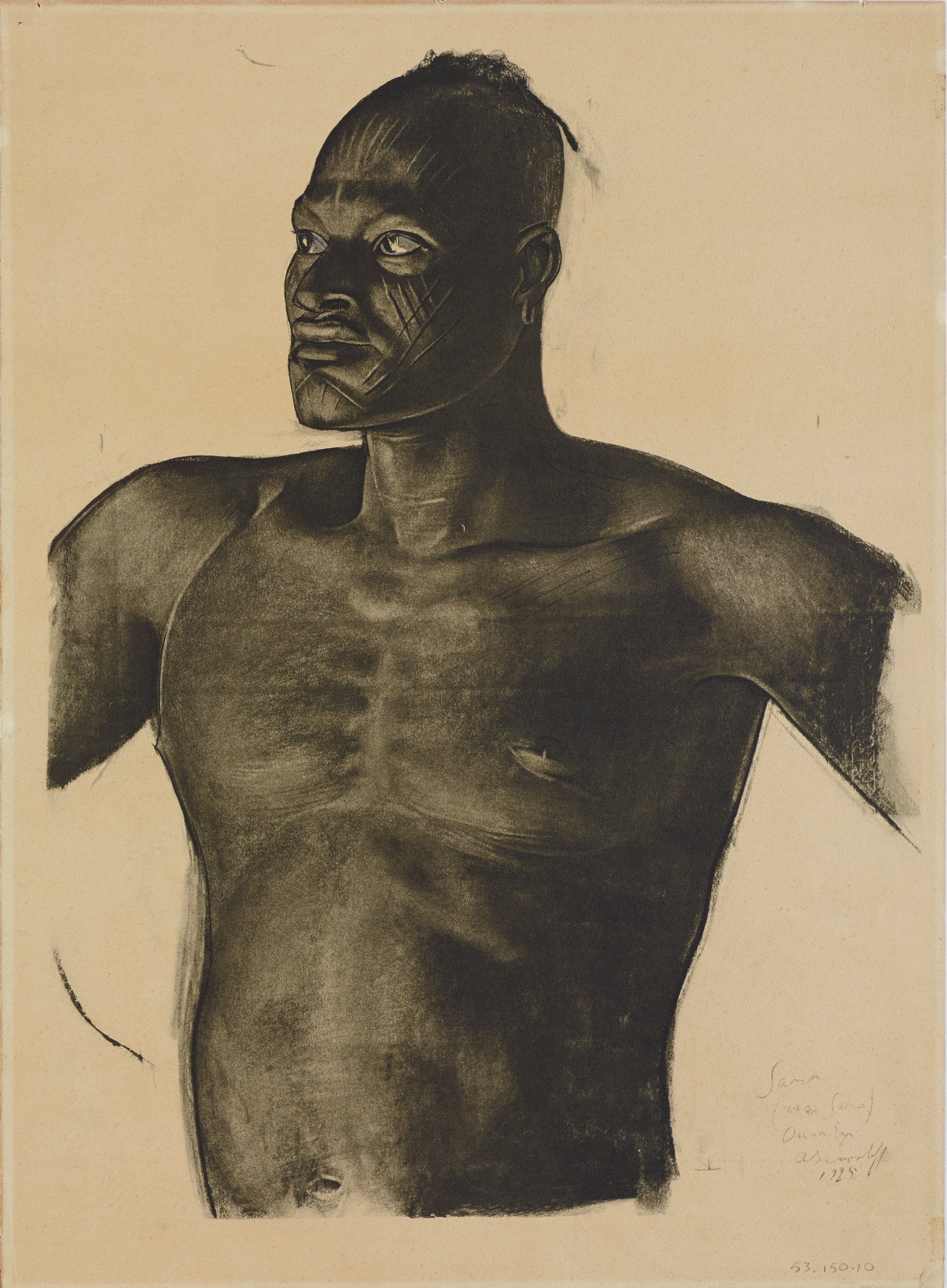 Half length portrait of a male figure. He faces slightly to the left. His head is partially shaved, and multiple markings appear on his face. This series is a product of Jacovleff's involvement in the Expédition Citroën Centre-Afrique.