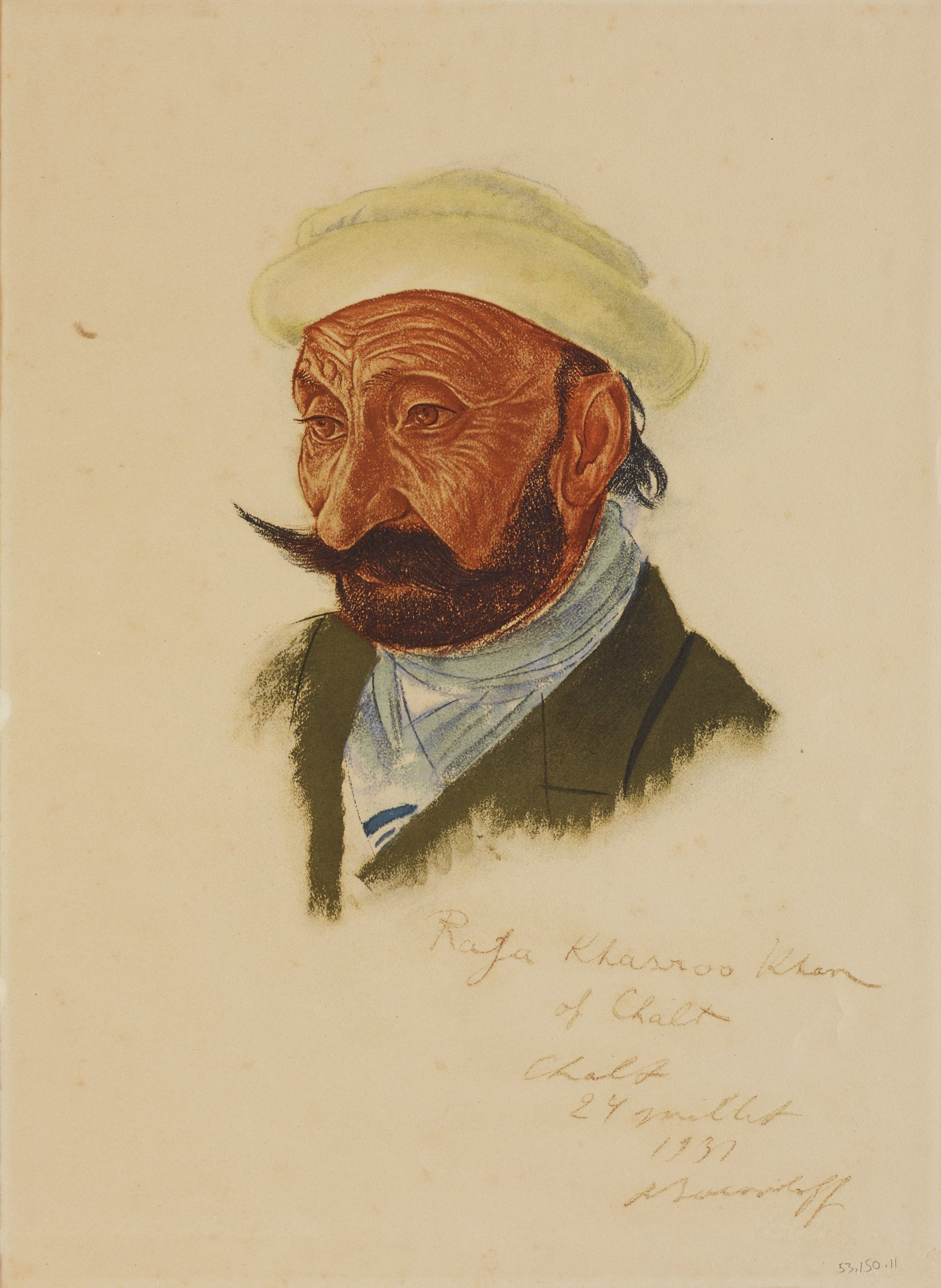 Bust portrait of a male figure with a light yellow hat and green coat with a blue scarf. He has a beard and long mustache. This series is a product of Jacovleff's involvement in the Expédition Citroën Centre-Asie.