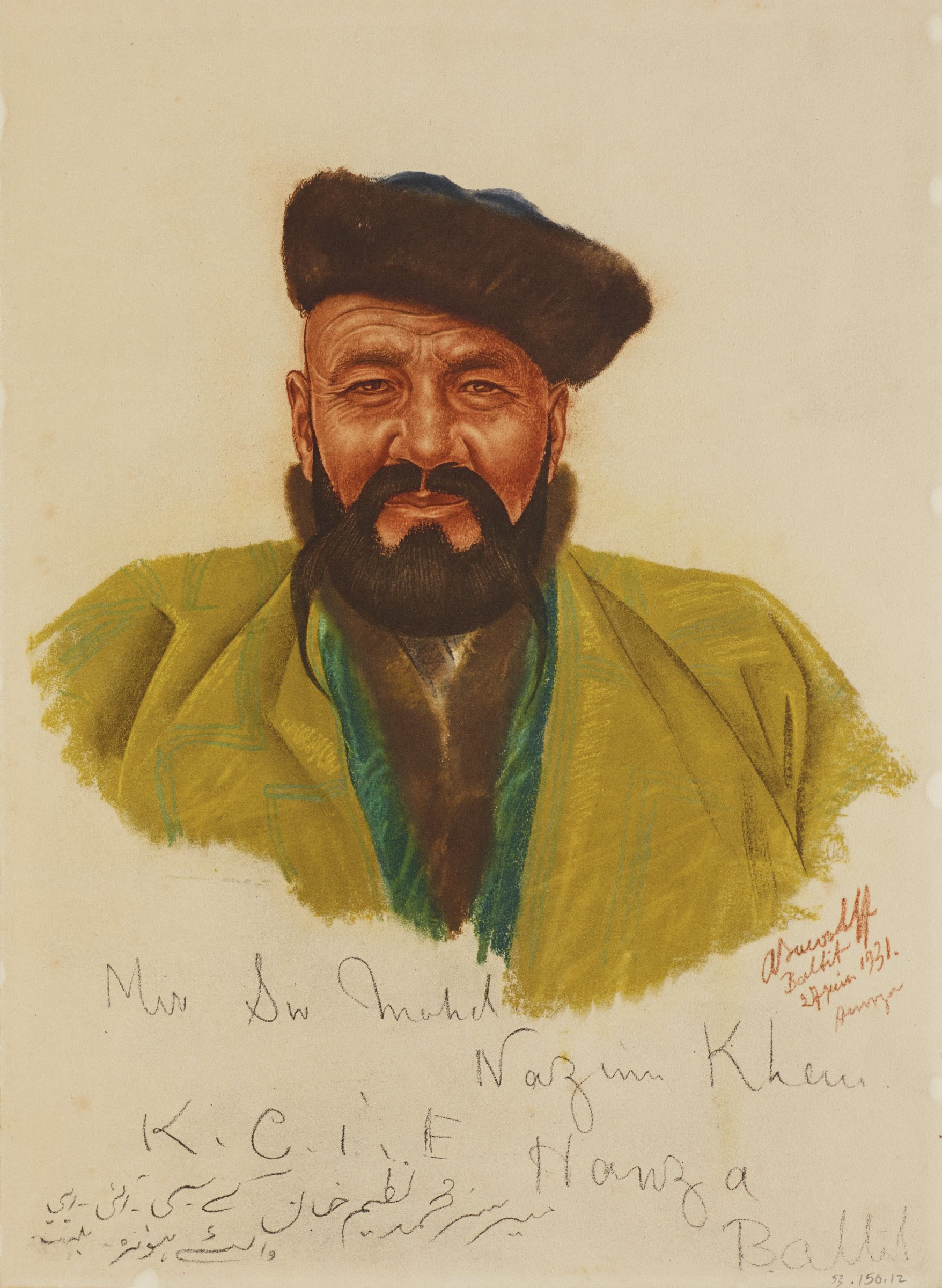 Bust portrait of a male figure facing forward looking out at the viewer. He wears a green jacket with a blue zigzag pattern and a fur hat. This series is a product of Jacovleff's involvement in the Expédition Citroën Centre-Asie.
