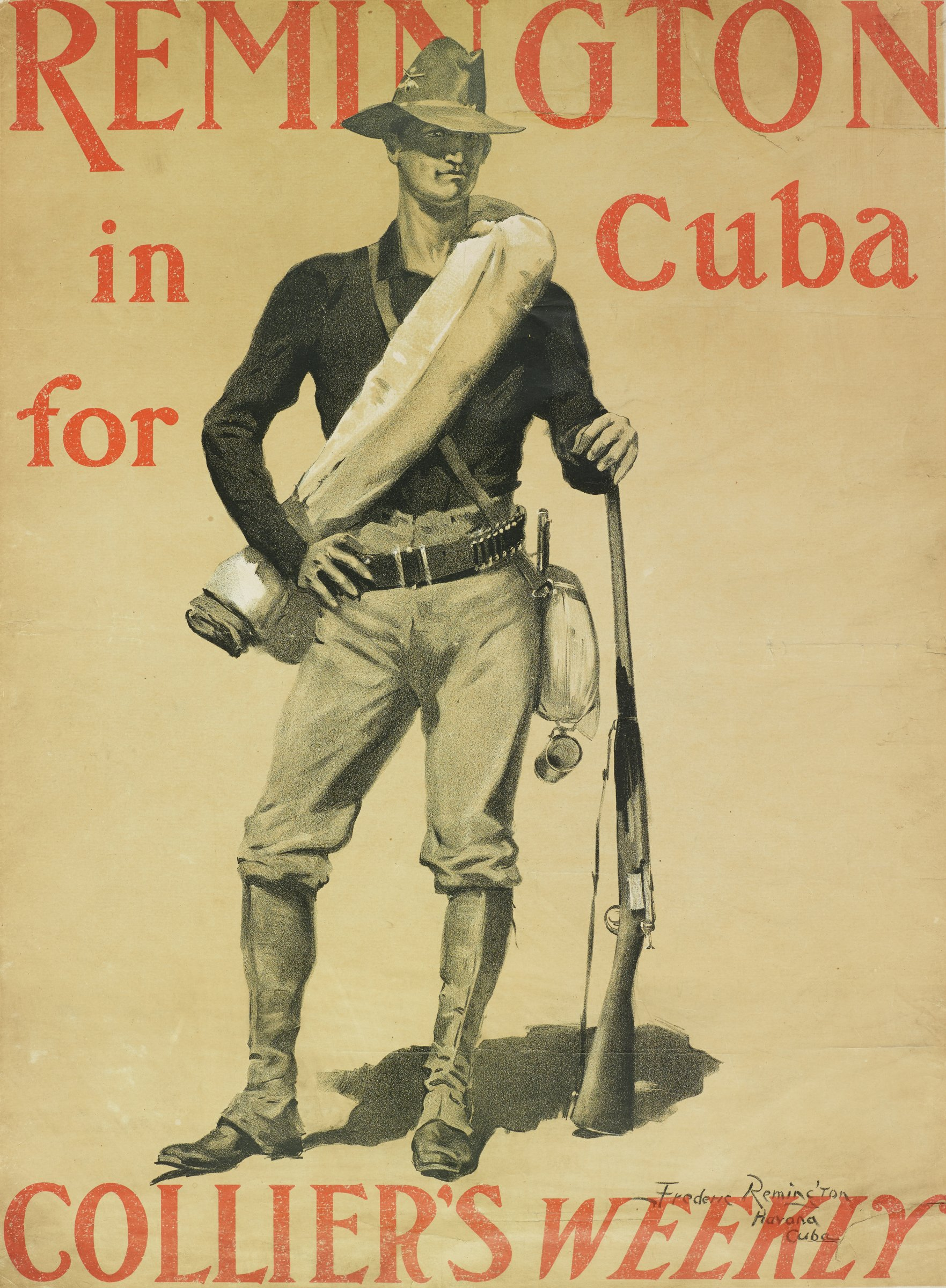 """Remington In Cuba for """"Collier's Weekly"""", Frederic Remington, lithograph"""