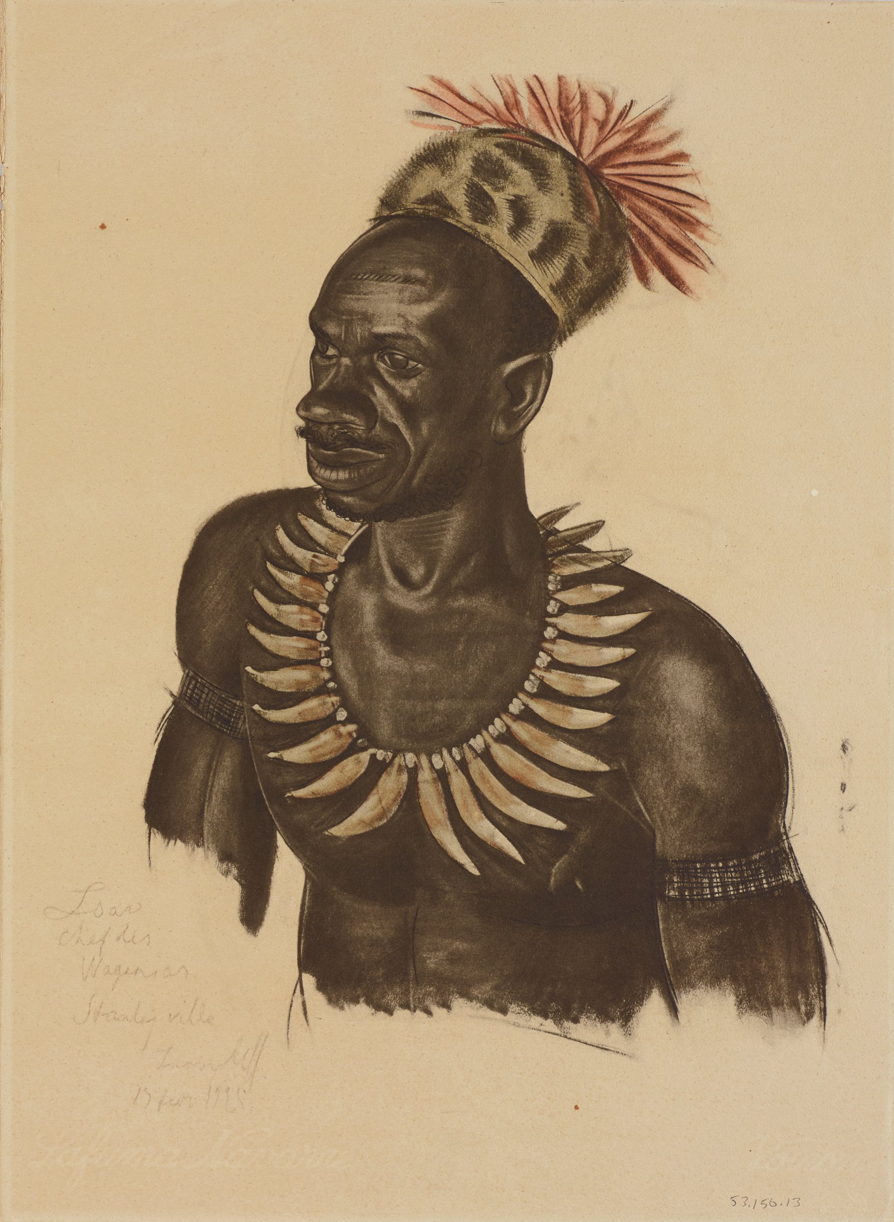 Half length portrait of a male figure who wears an elaborate necklace, an armband on each arm, and a spotted hat with red feathers. This series is a product of Jacovleff's involvement in the Expédition Citroën Centre-Afrique.