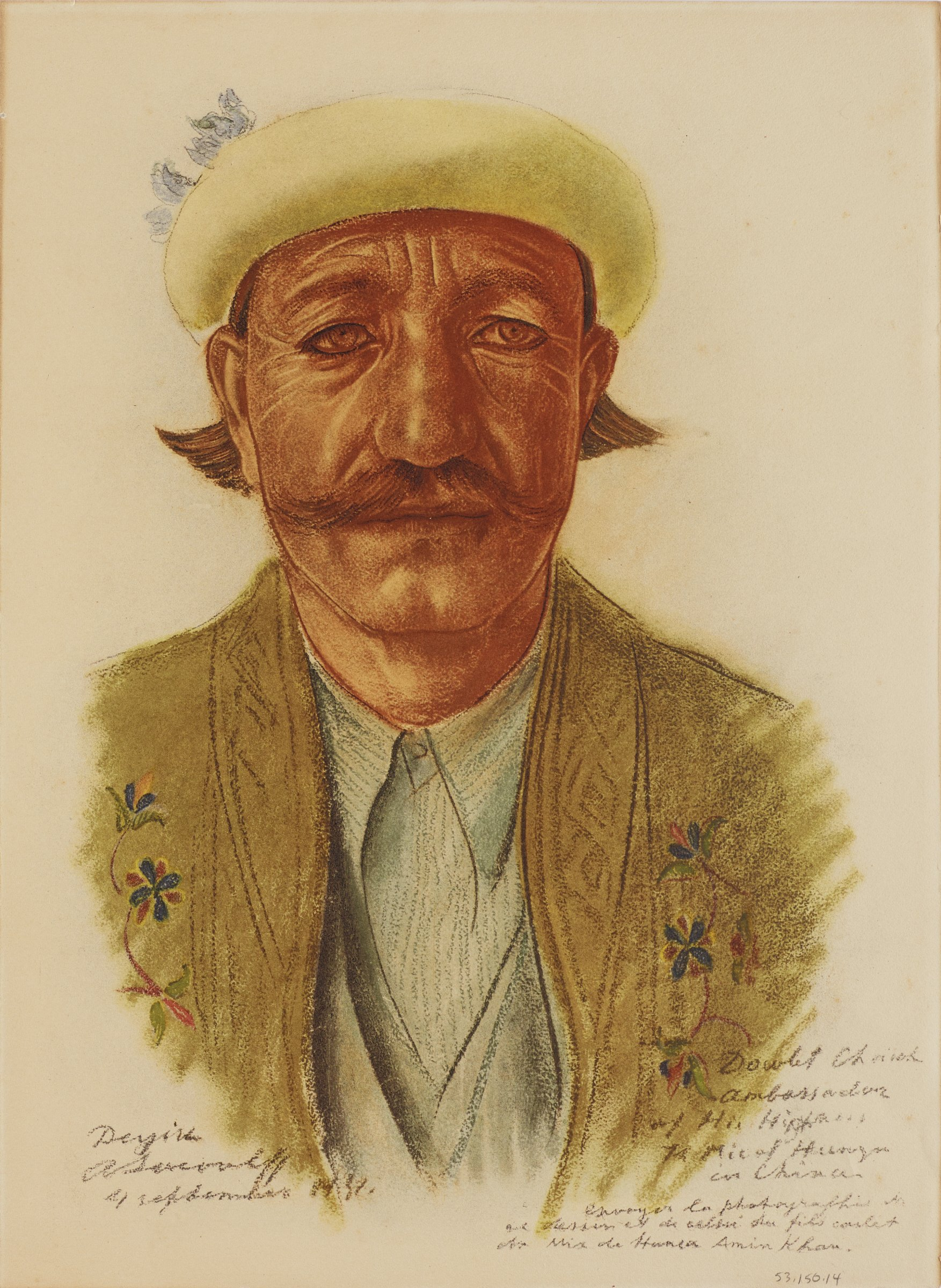 Bust portrait of a male figure with a yellow hat and yellow jacket with floral decorations. His body faces forward as he looks slightly to the right. This series is a product of Jacovleff's involvement in the Expédition Citroën Centre-Asie.