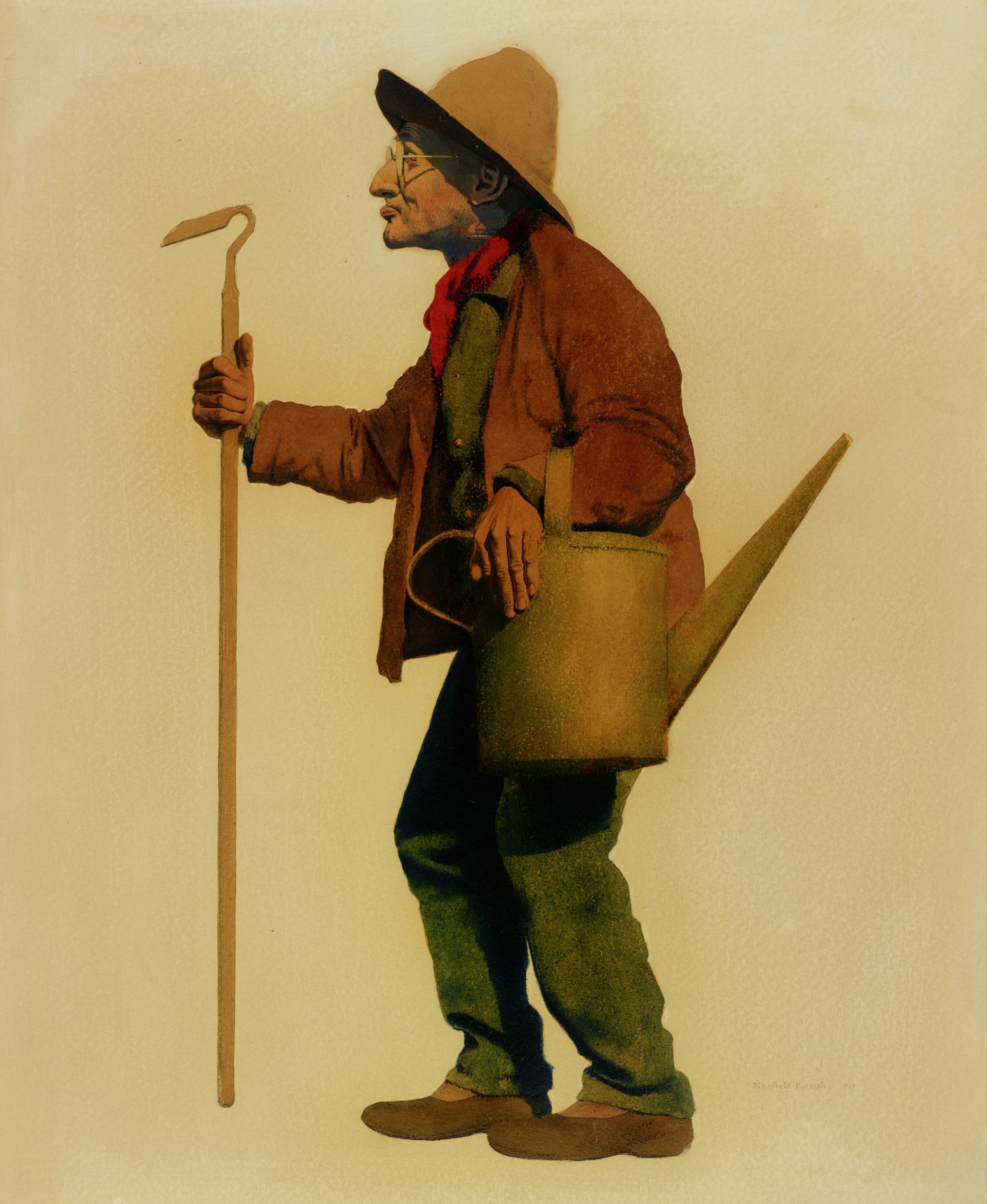 Elderly bespectacled man, with a wry visage, in profile, facing left. He wears a brown full-brimmed hat and coat, blue workman's shirt and pants, and a red neckerchief. In his right hand, he carries a garden hoe. With his left arm he carries a green watering can, his arm looped through the handle.