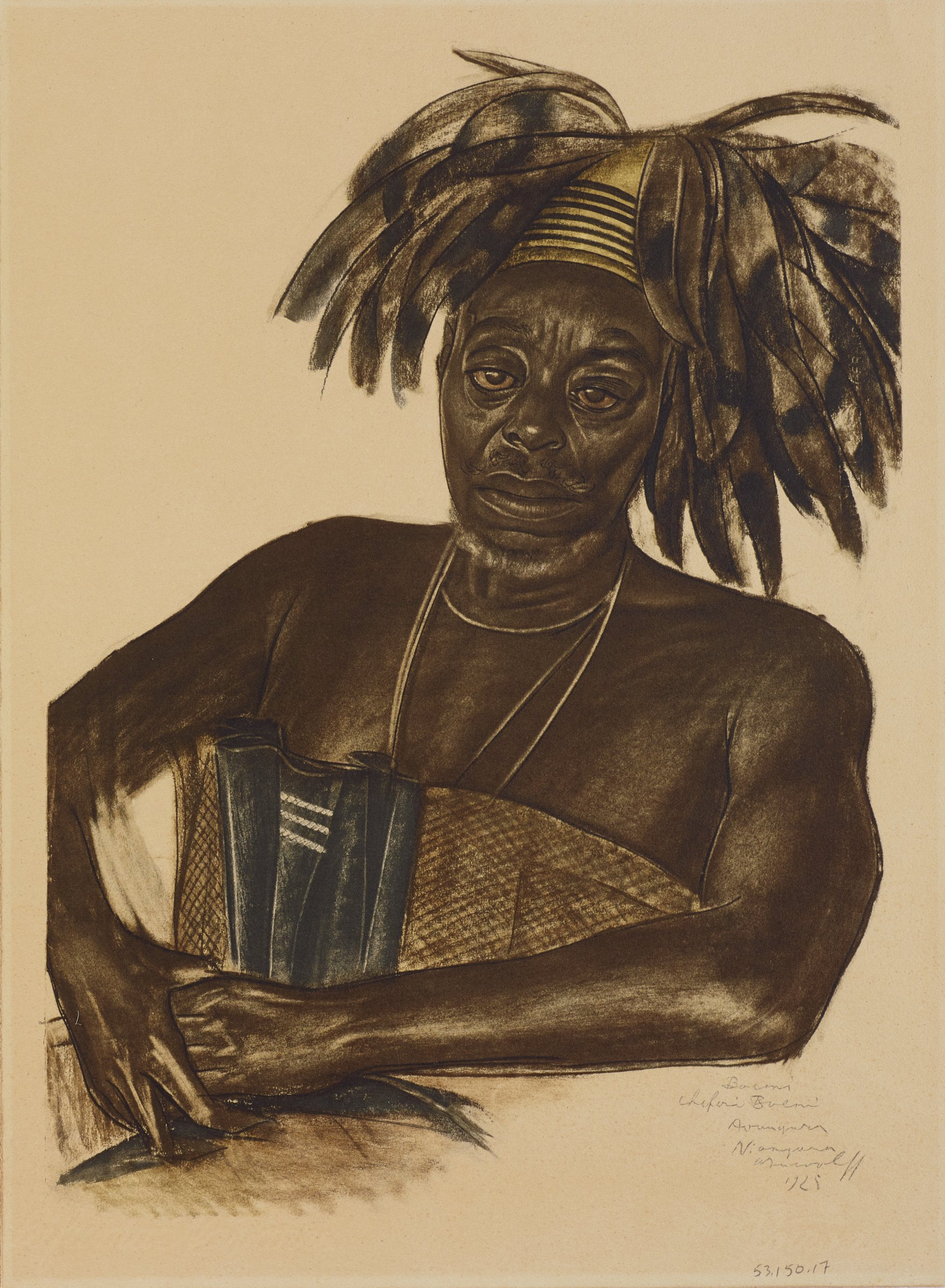 Half-length portrait of male figure wearing headwear decorated with dark feathers. He faces out toward the viewer as his hands lay crossed in his lap. This series is a product of Jacovleff's involvement in the Expédition Citroën Centre-Afrique.