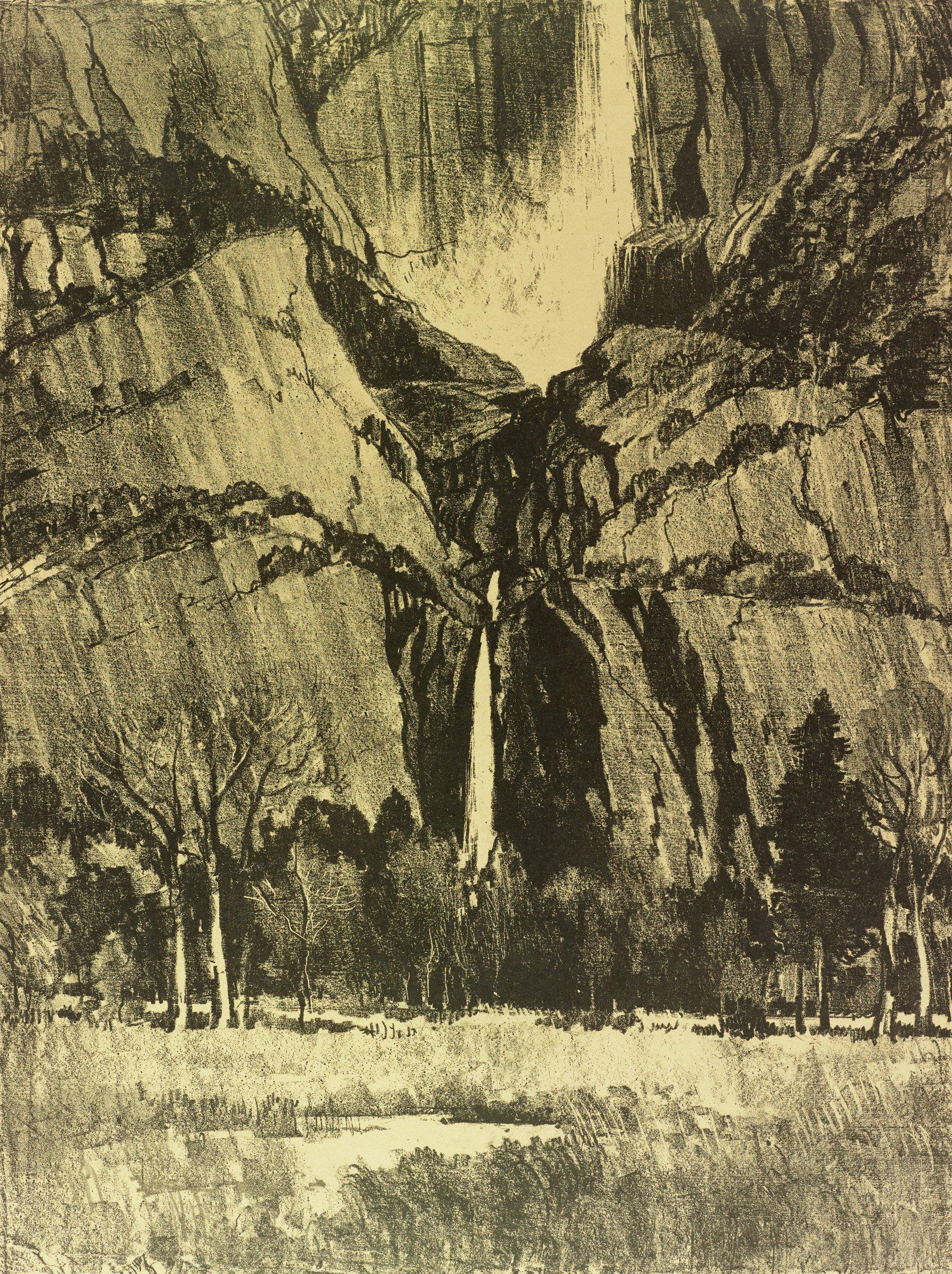 Lower Falls, Yosemite, Joseph Pennell, lithograph