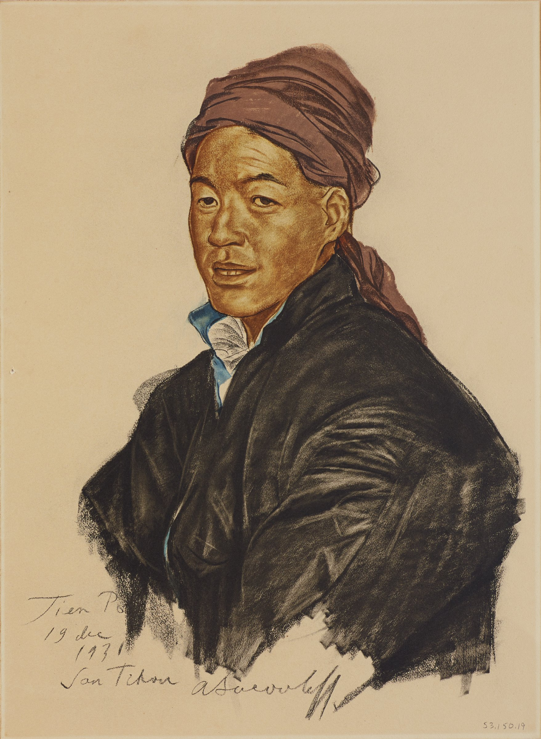 Half-length portrait of male figure in a black jackets and a purple headscarf. His body is turned slightly to the left as he faces out to the viewer. This series is a product of Jacovleff's involvement in the Expédition Citroën Centre-Asie.