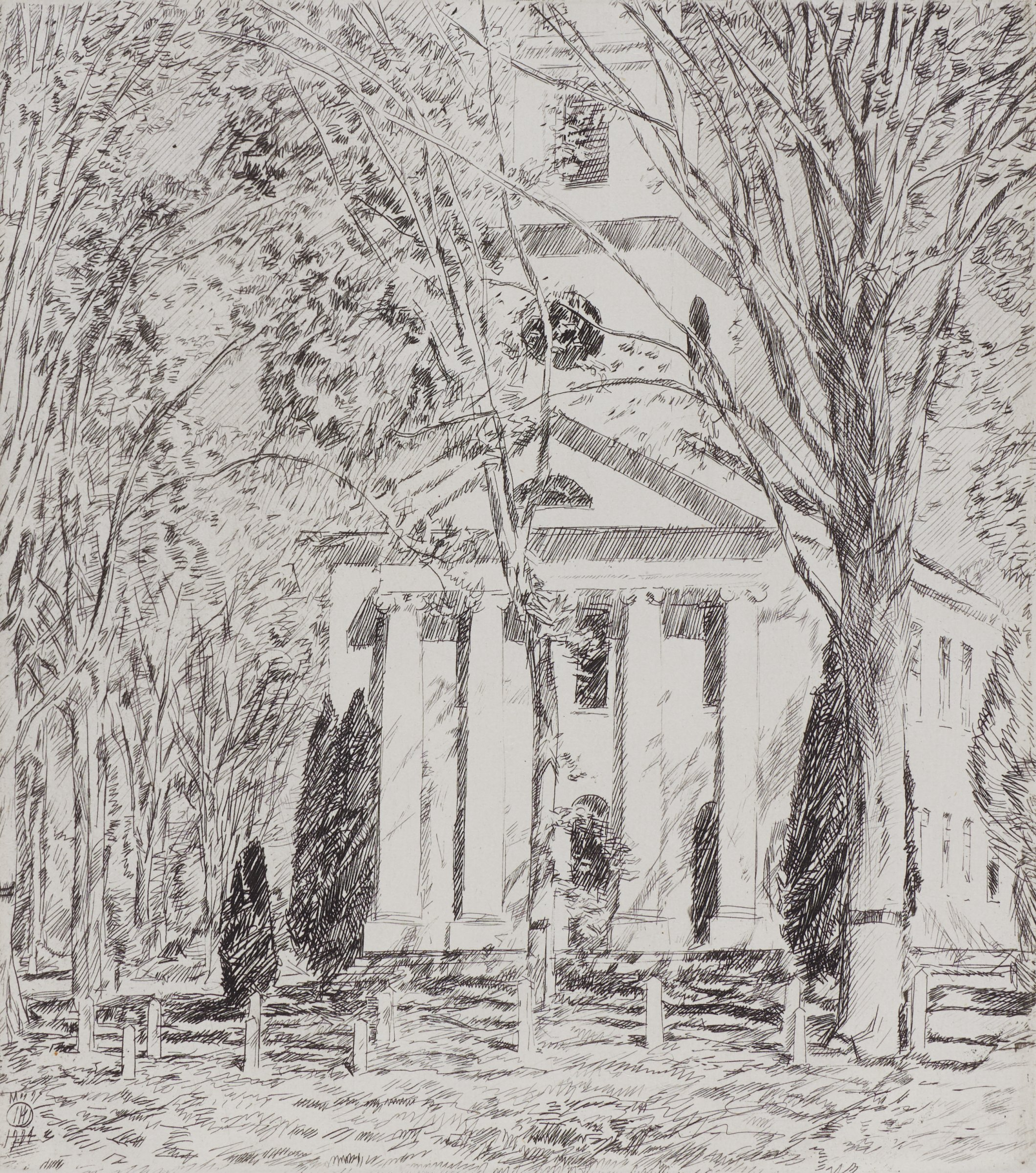 Church at Old Lyme, Childe Hassam, etching