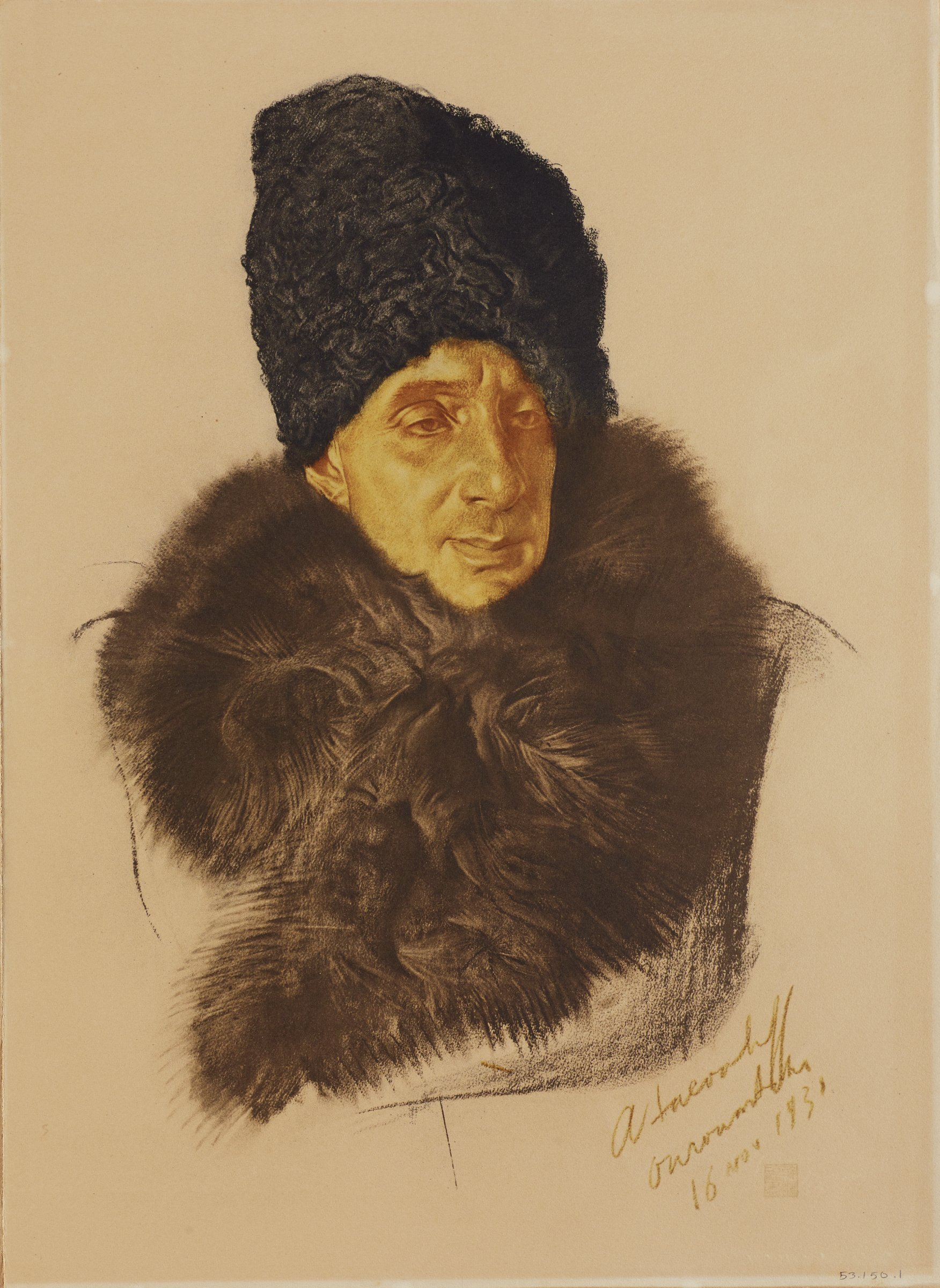Portfolio of two page folios made of one sheet folded over in center. Identified on the recto of each first page of the folio. Image on the recto of the second page. Bust portrait of a male figure wearing a coat with a large, brown fur collar and a black fur hat. His body faces front as he turns his head slightly to the right. This series is a product of Jacovleff's involvement in the Expédition Citroën Centre-Asie.