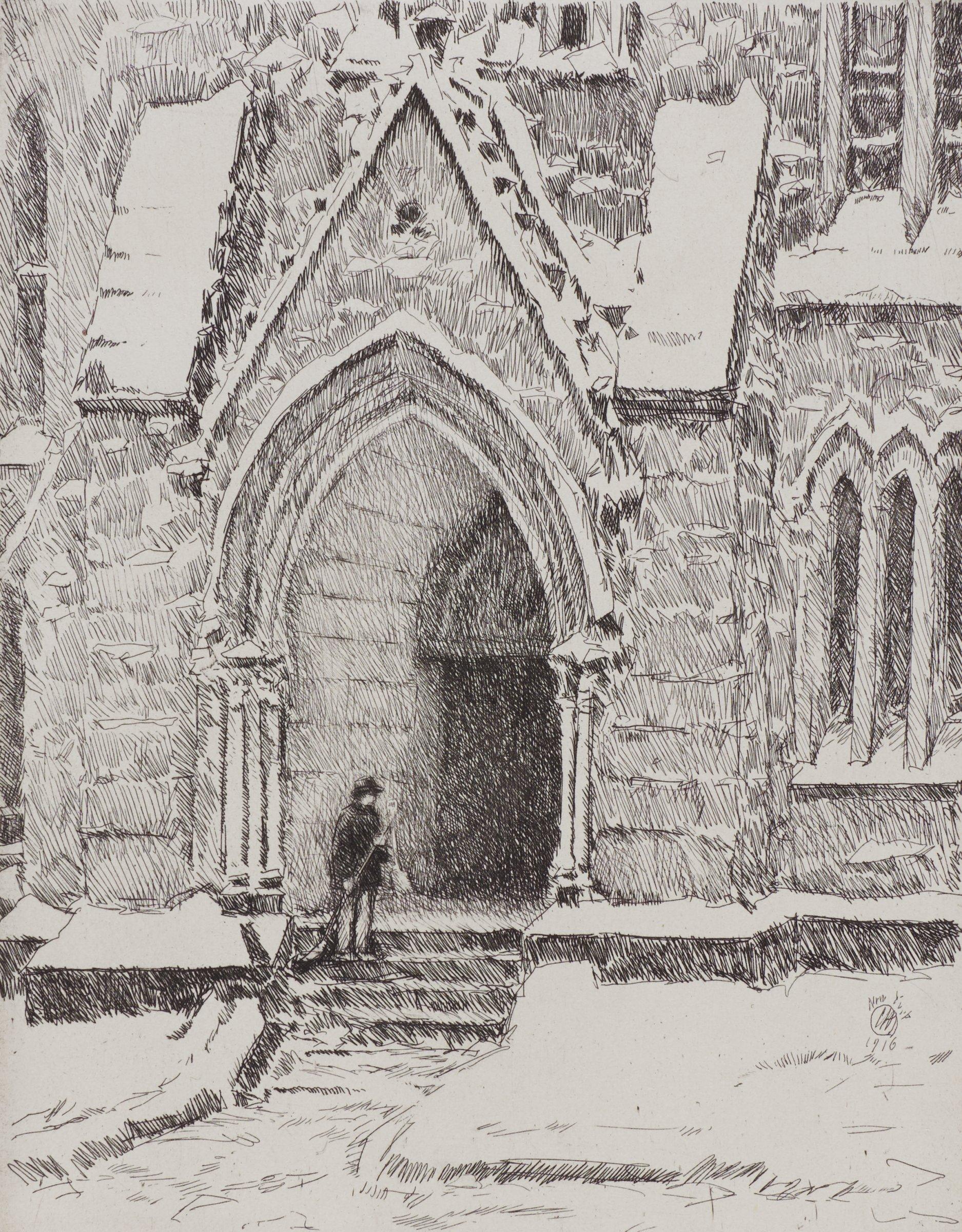 Church Doorway, Snow, Childe Hassam, etching