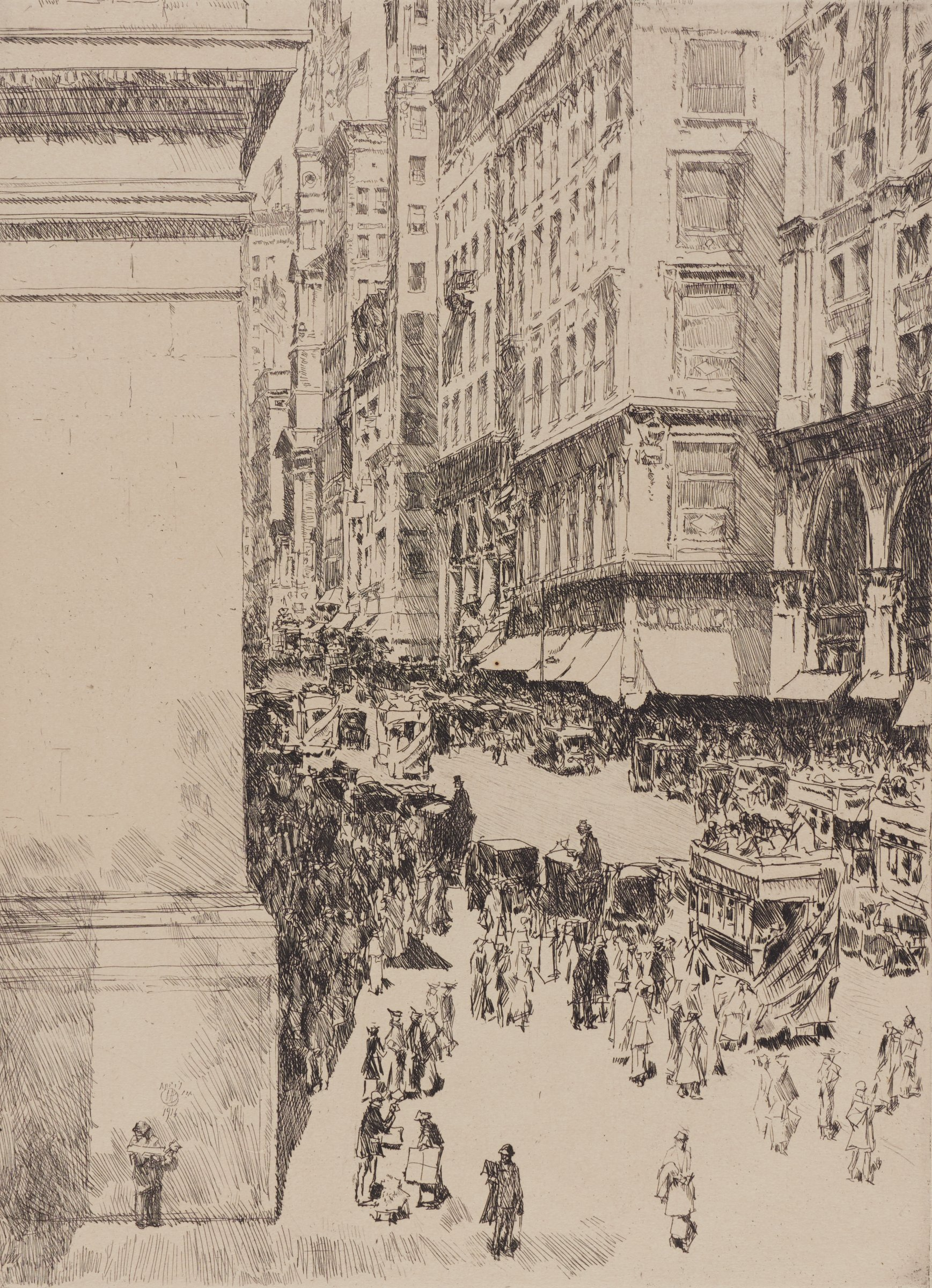 Fifth Avenue, Noon, Childe Hassam, etching (state ii/ii)