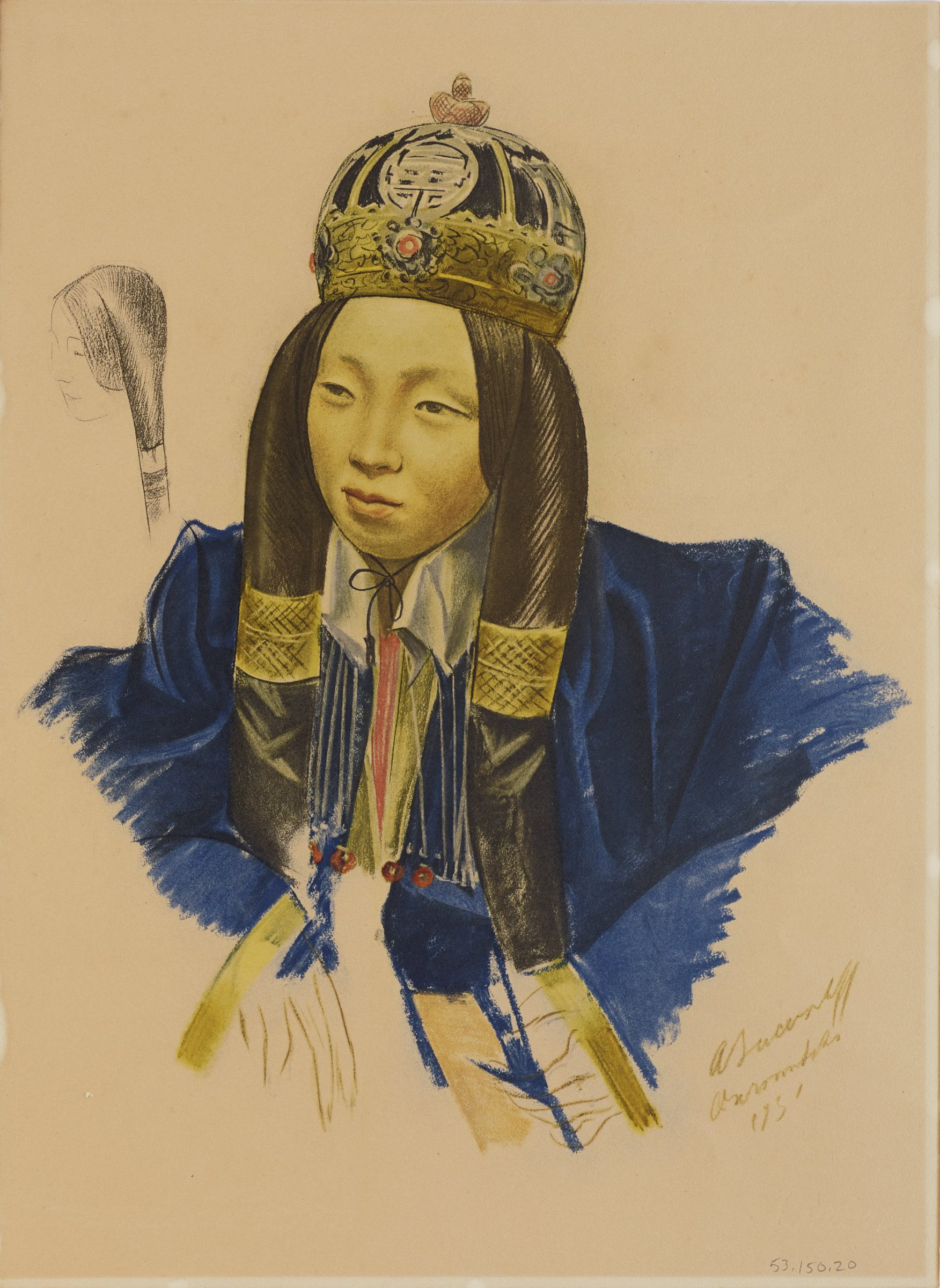 Portrait of a female figure facing slightly left. She wears a blue robe, crown with jewels, and her hair is decorated with gold ornaments. Behind her on the left is an outline of the head of a small second figure. This series is a product of Jacovleff's involvement in the Expédition Citroën Centre-Asie.