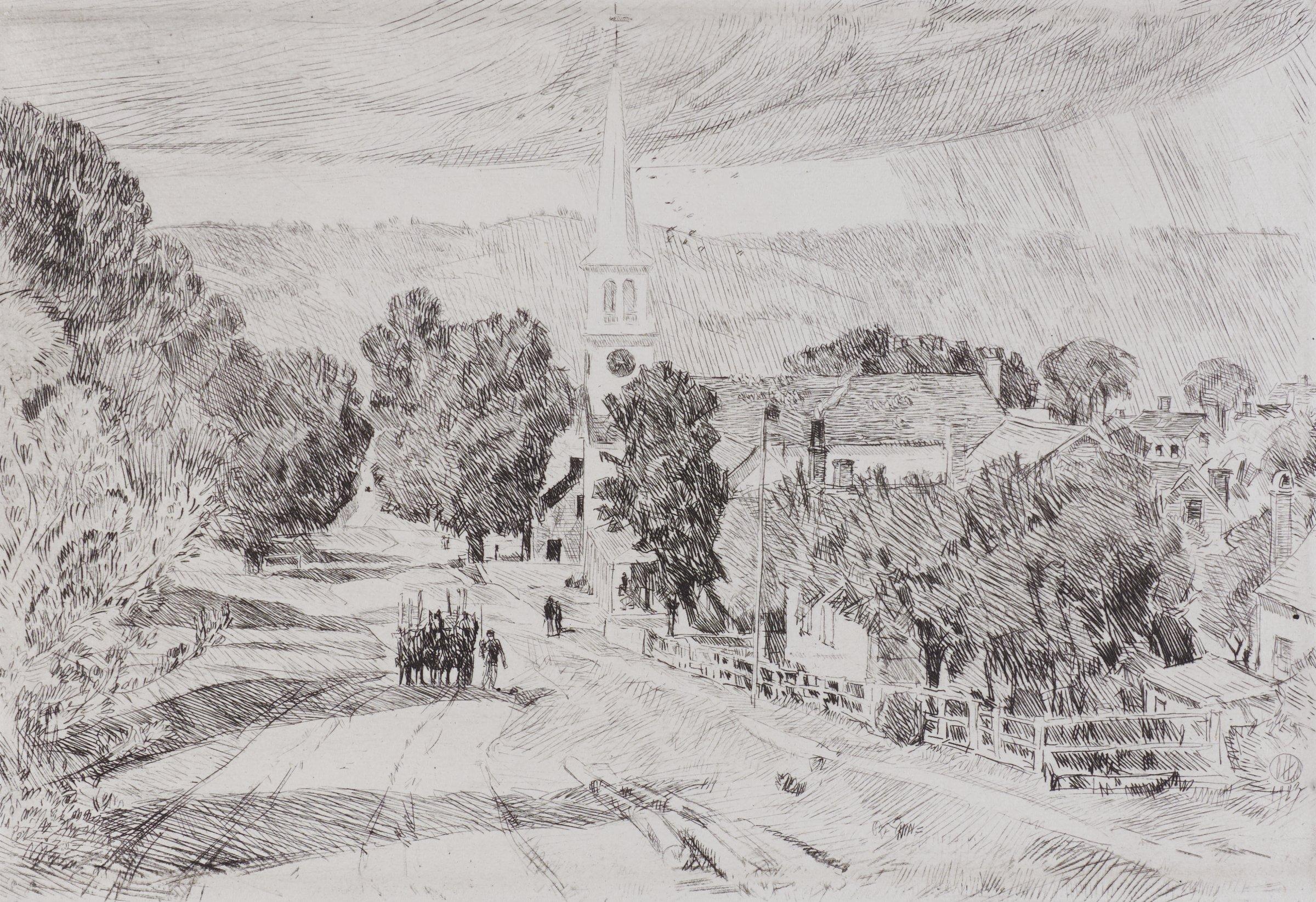Vermont Village, Peacham, Childe Hassam, etching