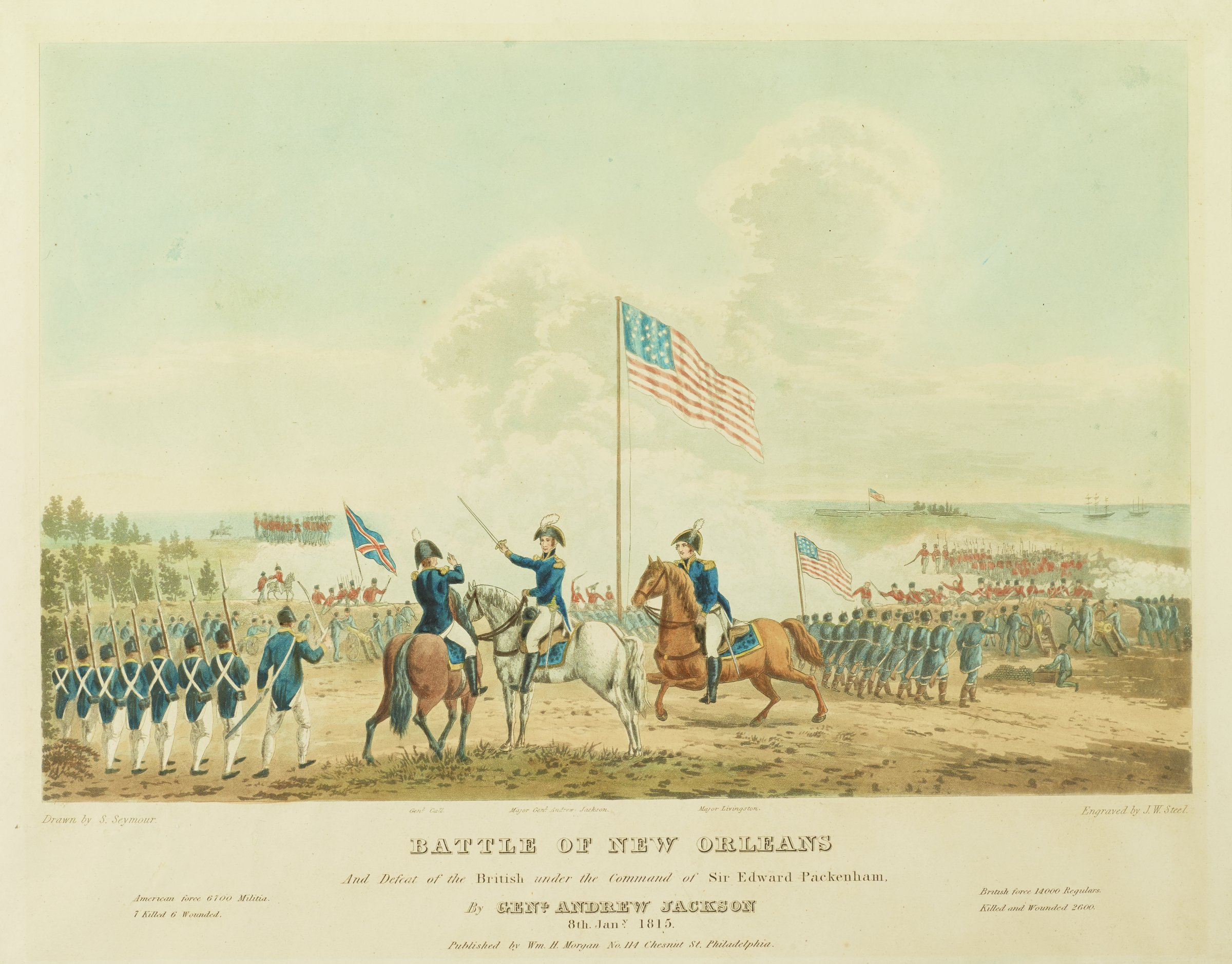 Battle of New Orleans and Defeat of the British Under the Command of Sir Edward Packenham by General Andrew Jackson, 8 Jan., 1815, Engraved by James W. Steel, After a drawing by Samuel Seymour, Published by William H. Morgan, hand-colored aquatint