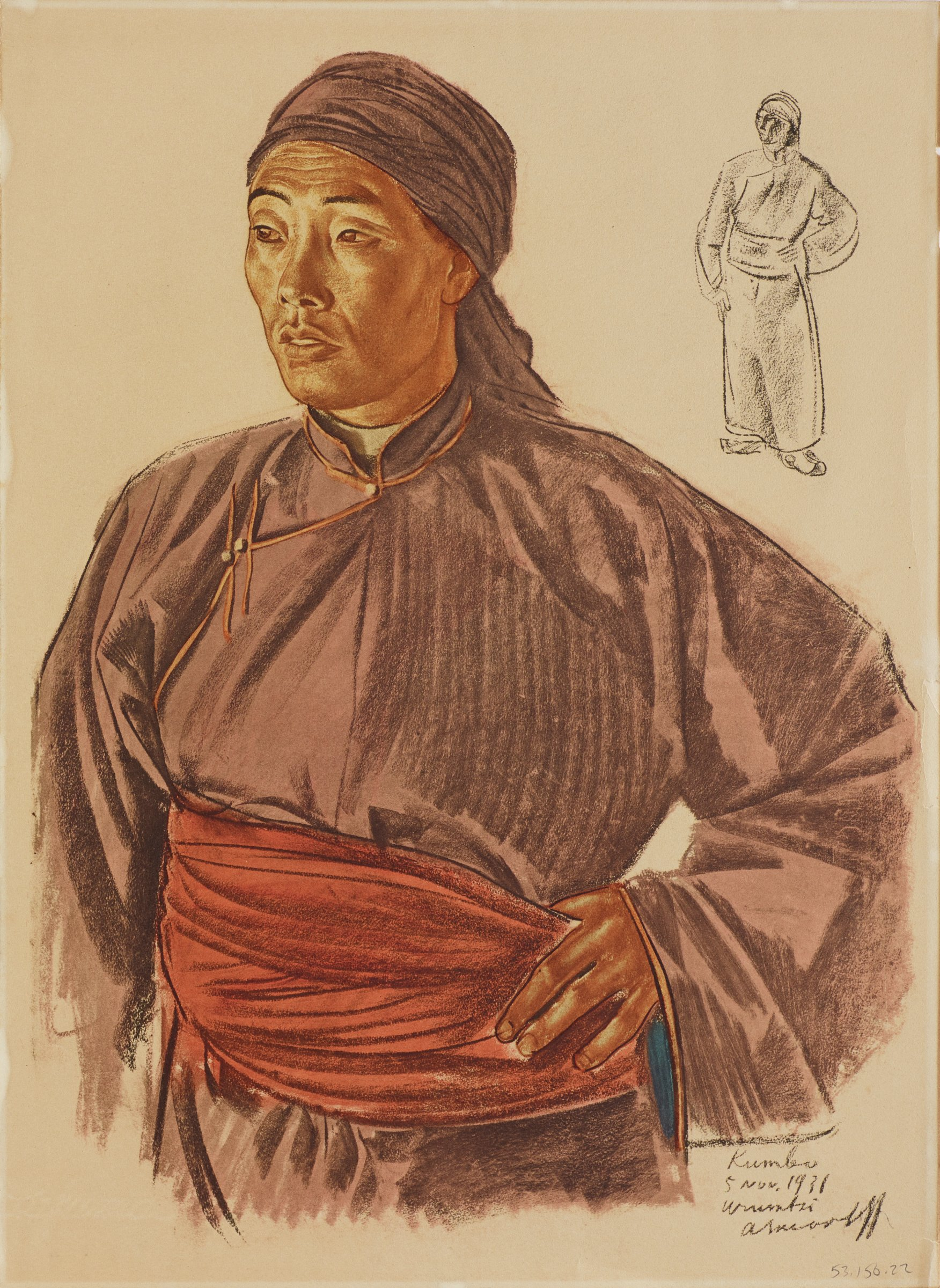 Half-length portrait of a male figure in a purle head scarf and a purple robe with a red sash. His body is turned toward toward the viewer as he faces slightly left. In the upper right, a figure is seen in outline. This series is a product of Jacovleff's involvement in the Expédition Citroën Centre-Asie.