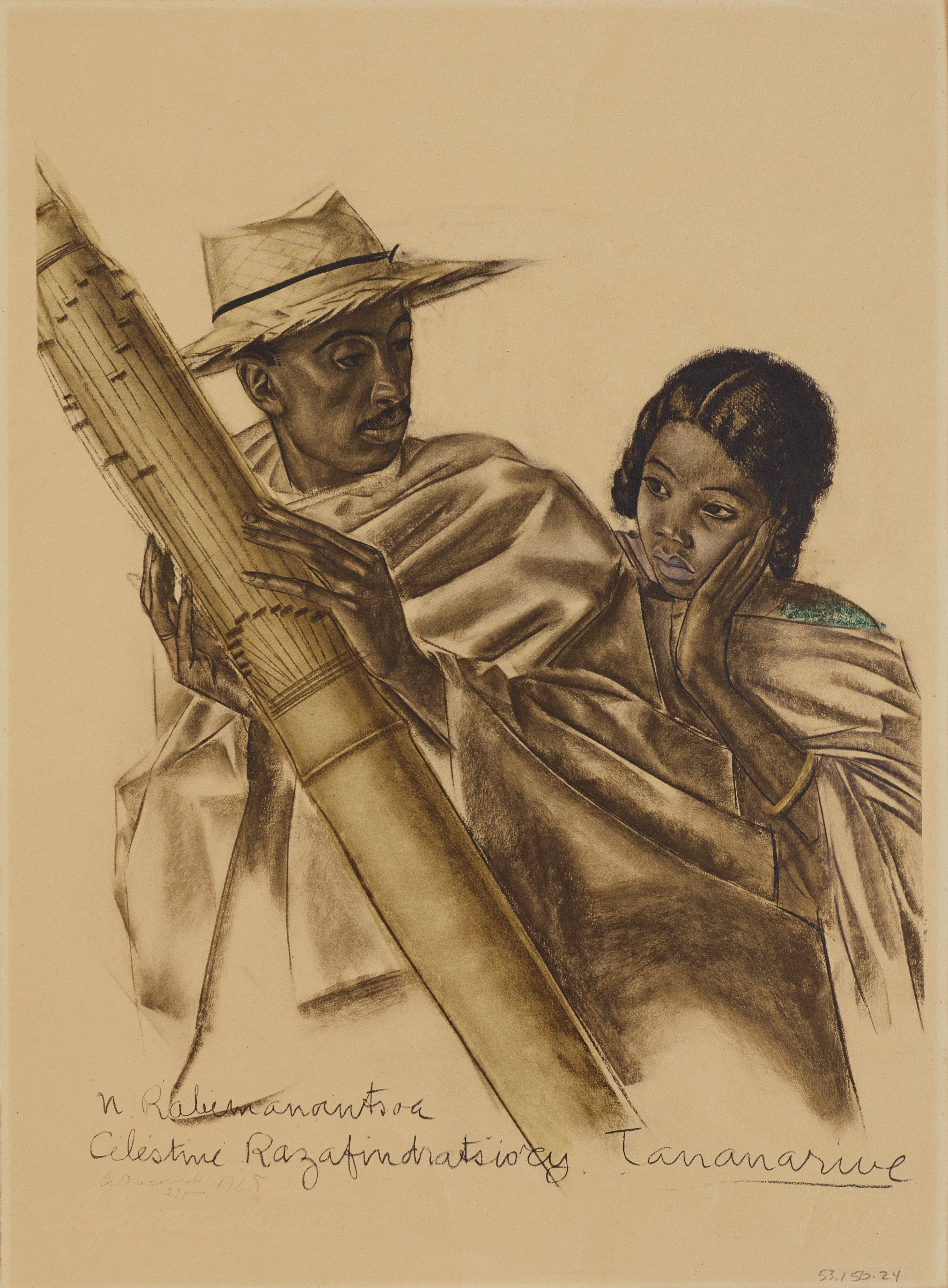 Portrait of two figures. A man in a straw hat holds a slender musical instrument in his hands as he looks back to the second figure, a young girl who leans her head onto her left arm and looks to the left. This series is a product of Jacovleff's involvement in the Expédition Citroën Centre-Afrique.
