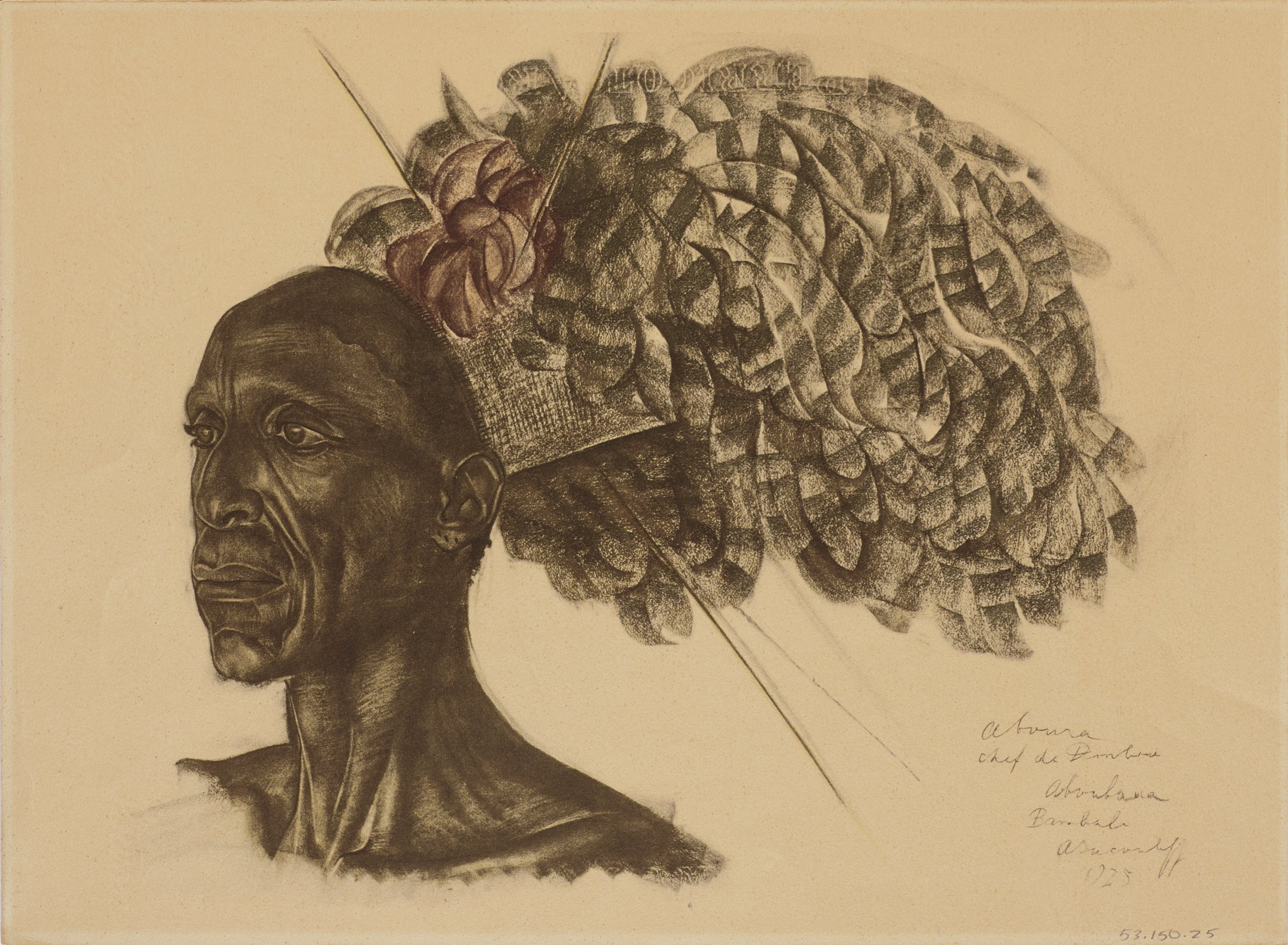 Bust portrait of a male figure facing slightly left. He wears a large feather headpiece. Image is oriented sideways. This series is a product of Jacovleff's involvement in the Expédition Citroën Centre-Afrique.