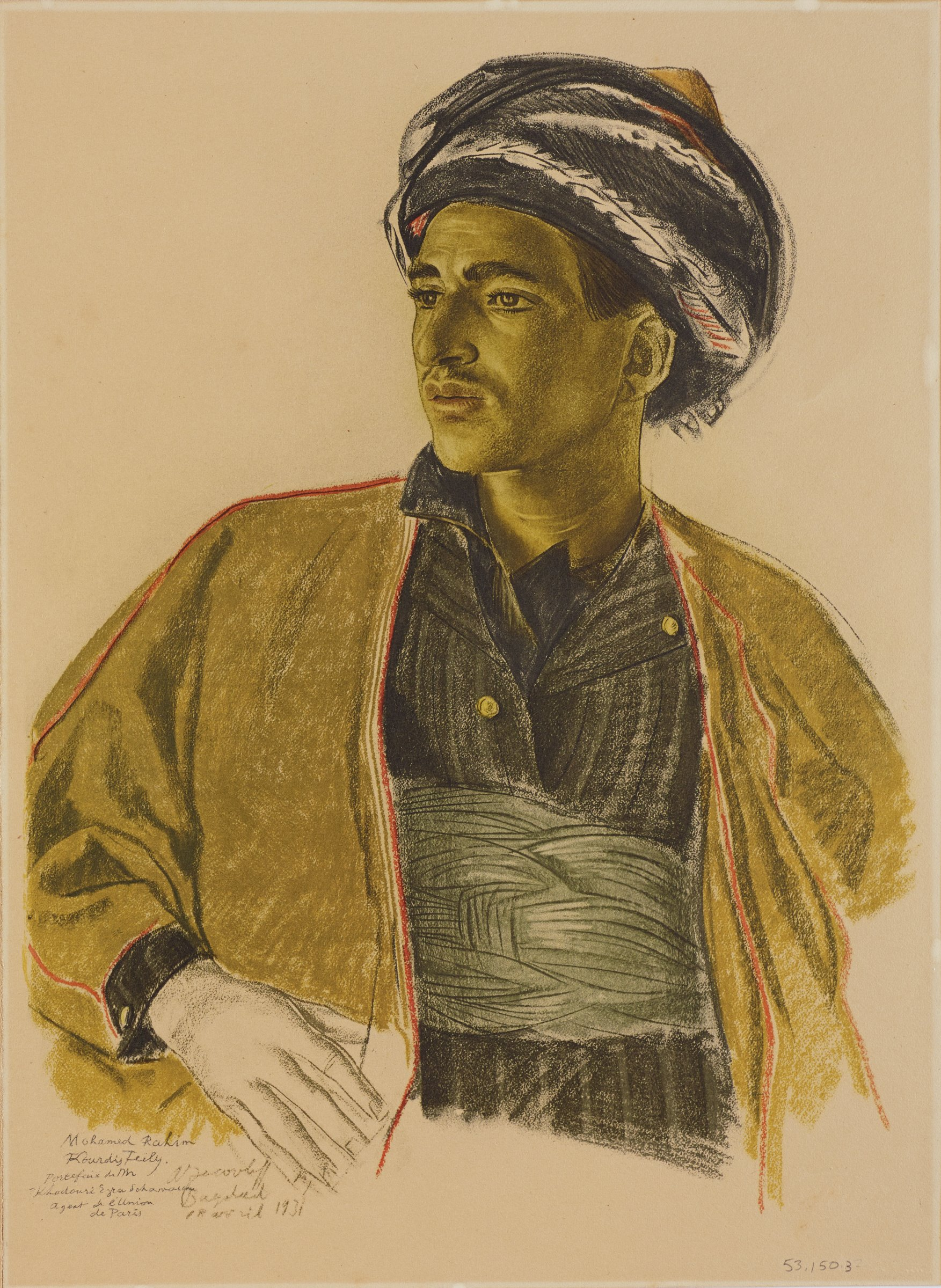 Half length portrait of male figure wearing a turban and a black shirt with a grey sash under a yellow coat. His body faces forward as he turns his head slightly to the left. This series is a product of Jacovleff's involvement in the Expédition Citroën Centre-Asie.