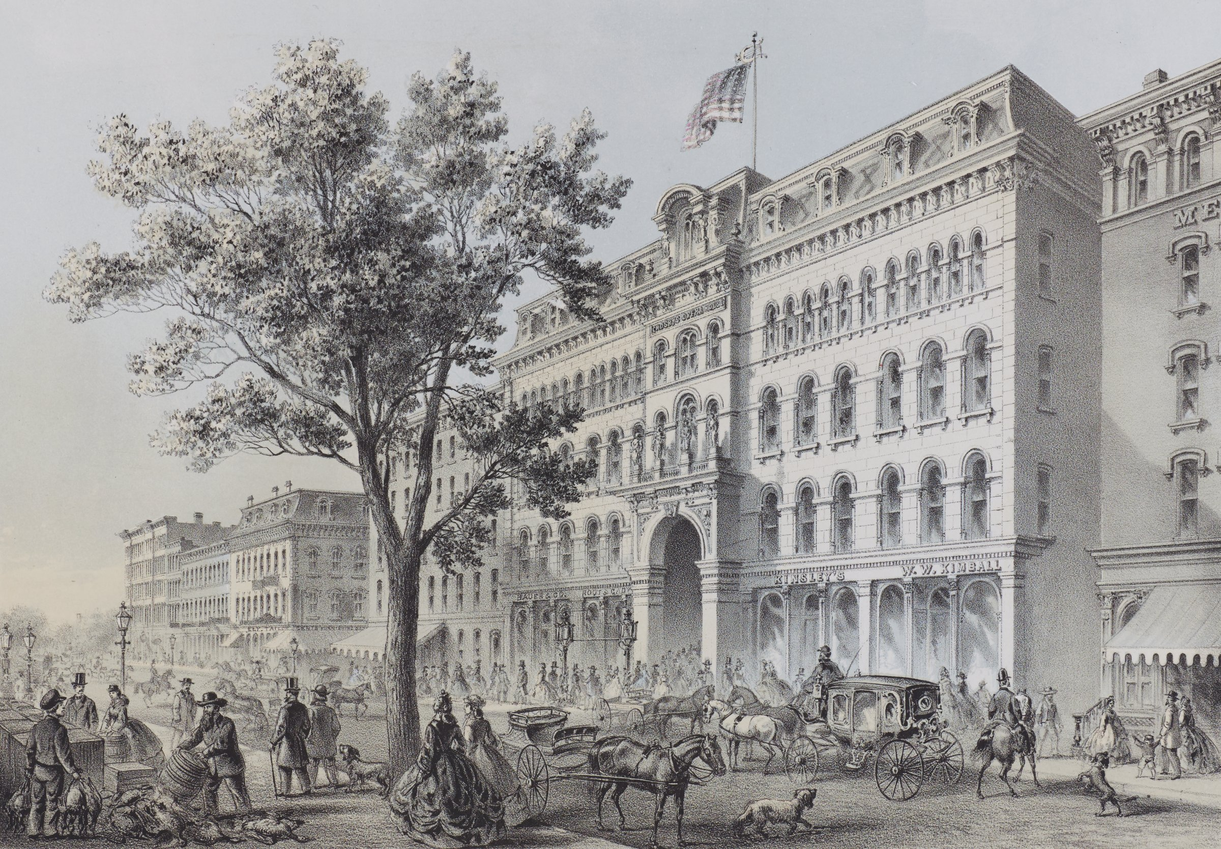 View of Crosby's Opera House, a five-story Italianate palace with a mansard roof, located on the north side of Washington Street between State and Dearborn in the city of Chicago. Here it is seen from a point on State Street, looking northwest. The street in front of the opera house—filled with people, horse-drawn carriages, and dogs—bustles with activity. A large tree, perhaps an oak, dominates the foreground at left of center.