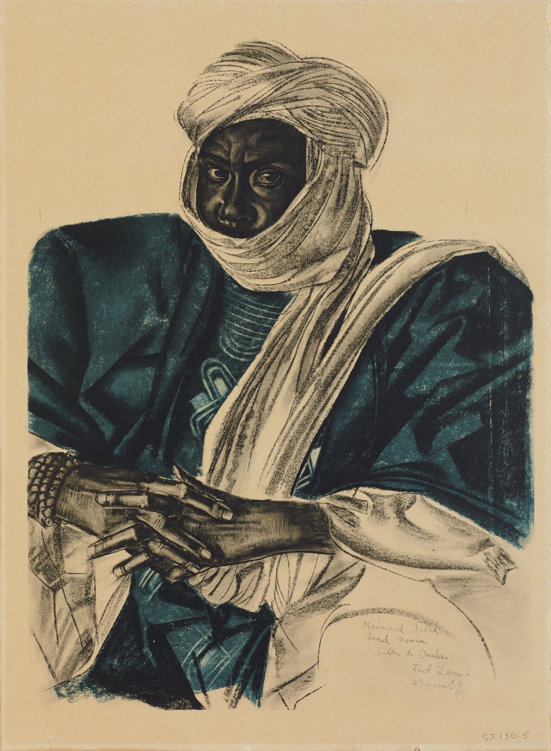Half length portrait of a male figure in a dark teal robe with a white headscarf that covers his mouth and chin. He looks out at the viewer, and his hands are laced across his stomach. This series is a product of Jacovleff's involvement in the Expédition Citroën Centre-Afrique.