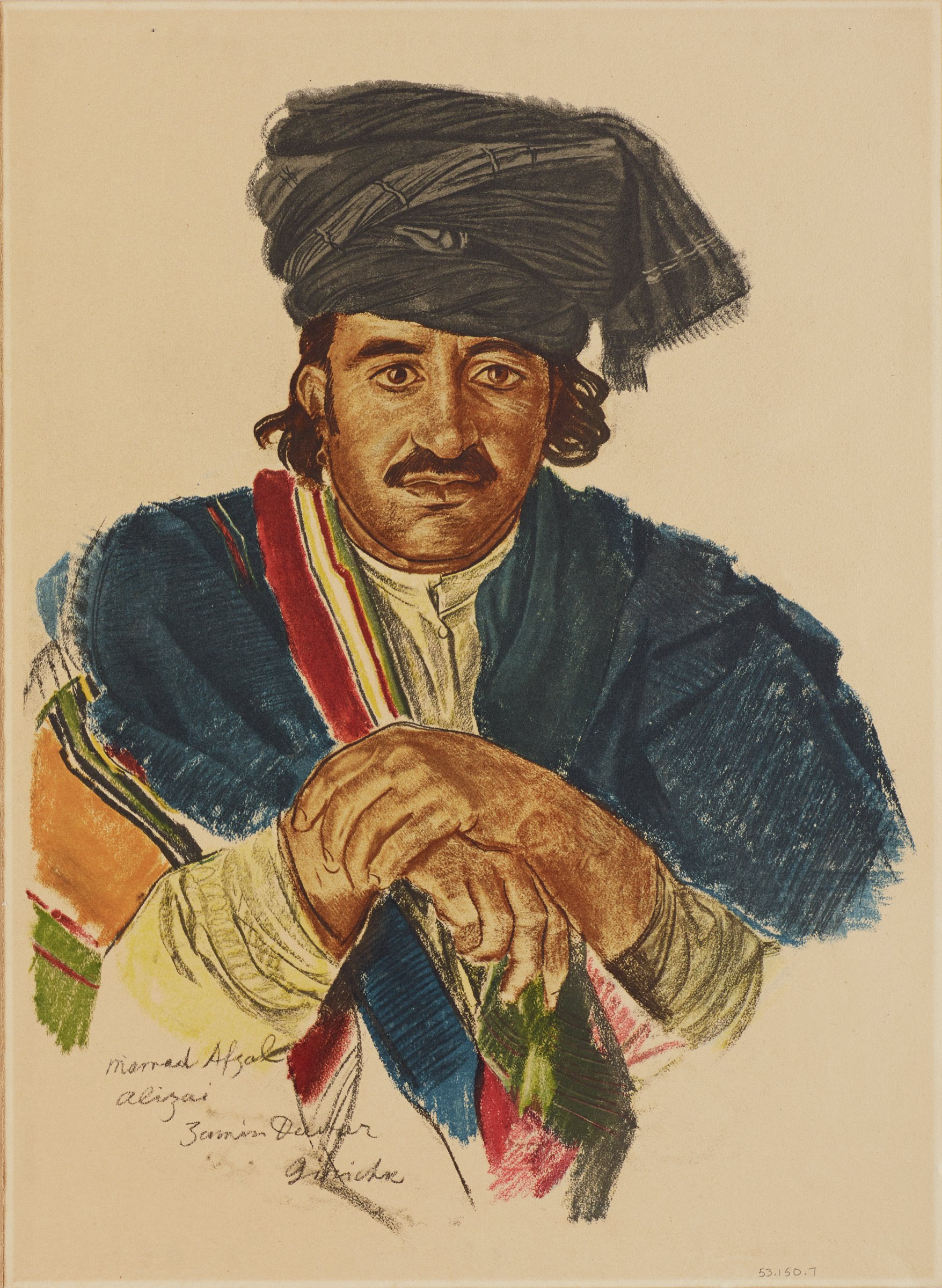 Portrait of male figure with a multi-colored robe over a shirt with a button at the collar. His dark curly hair hands from beneath his turban. His hands cross at his chest. This series is a product of Jacovleff's involvement in the Expédition Citroën Centre-Asie.