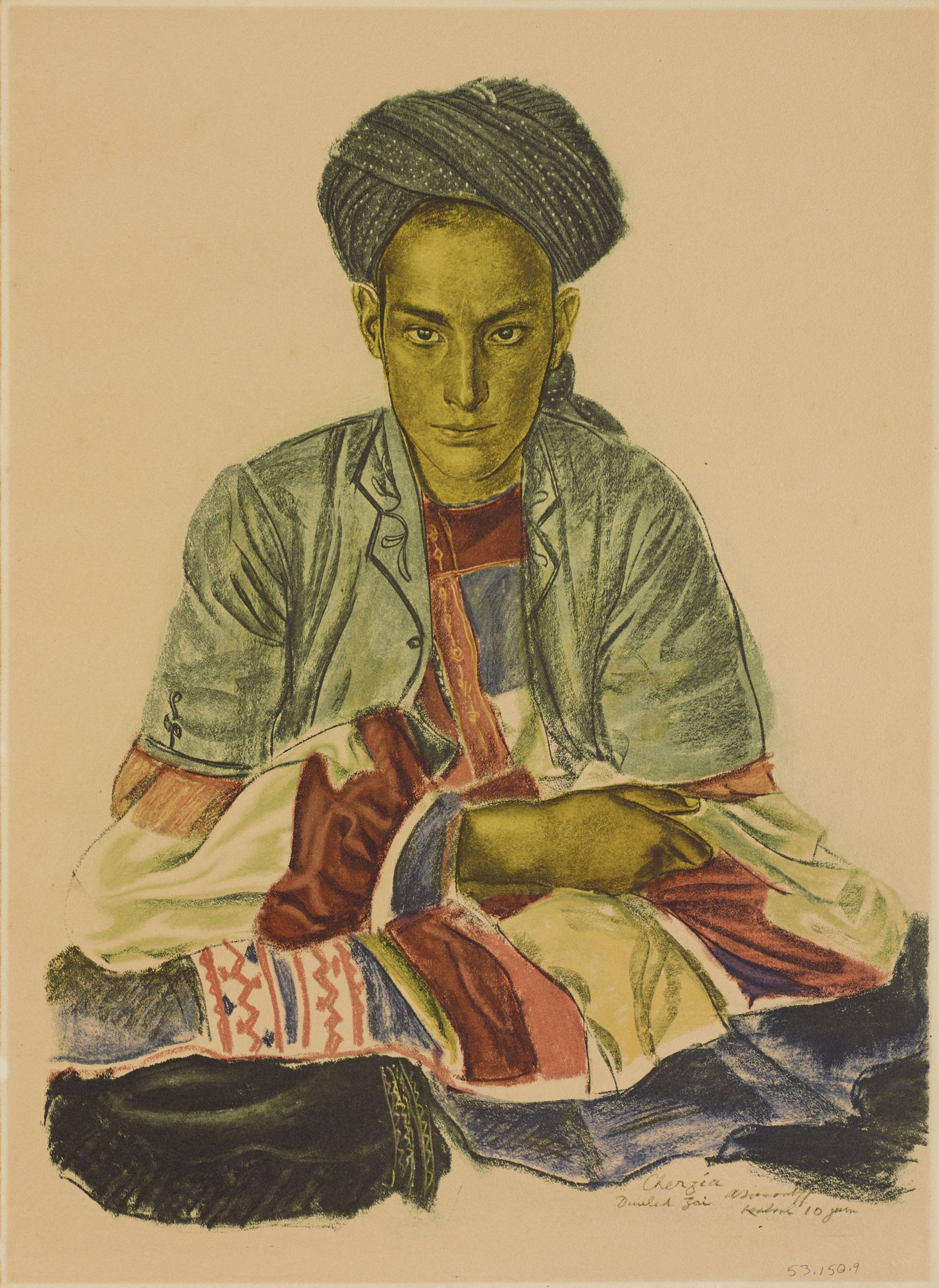 Full length portrait of a female figure seated with lefts and arms crossed. She looks out at the viewer. She is dressed in mulicolored fabic. This series is a product of Jacovleff's involvement in the Expédition Citroën Centre-Asie.
