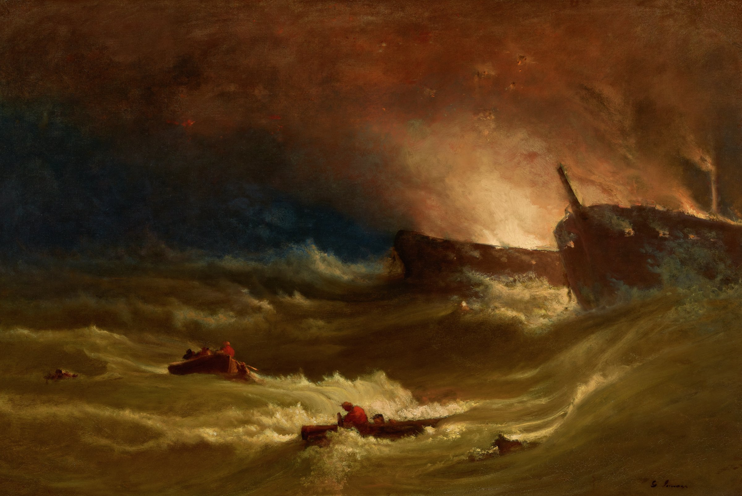 """In his catalogue raisonné of Inness's work, Michael Quick describes the painting, writing, """"On the right are two dismasted battleships, both aflame, the nearer one silhouetted by the brighter, explosive glow from the one behind it. In the rolling waves at the left, men escape in three rowboats. The conflagration lights up the foreground waves and the clouded night sky."""""""