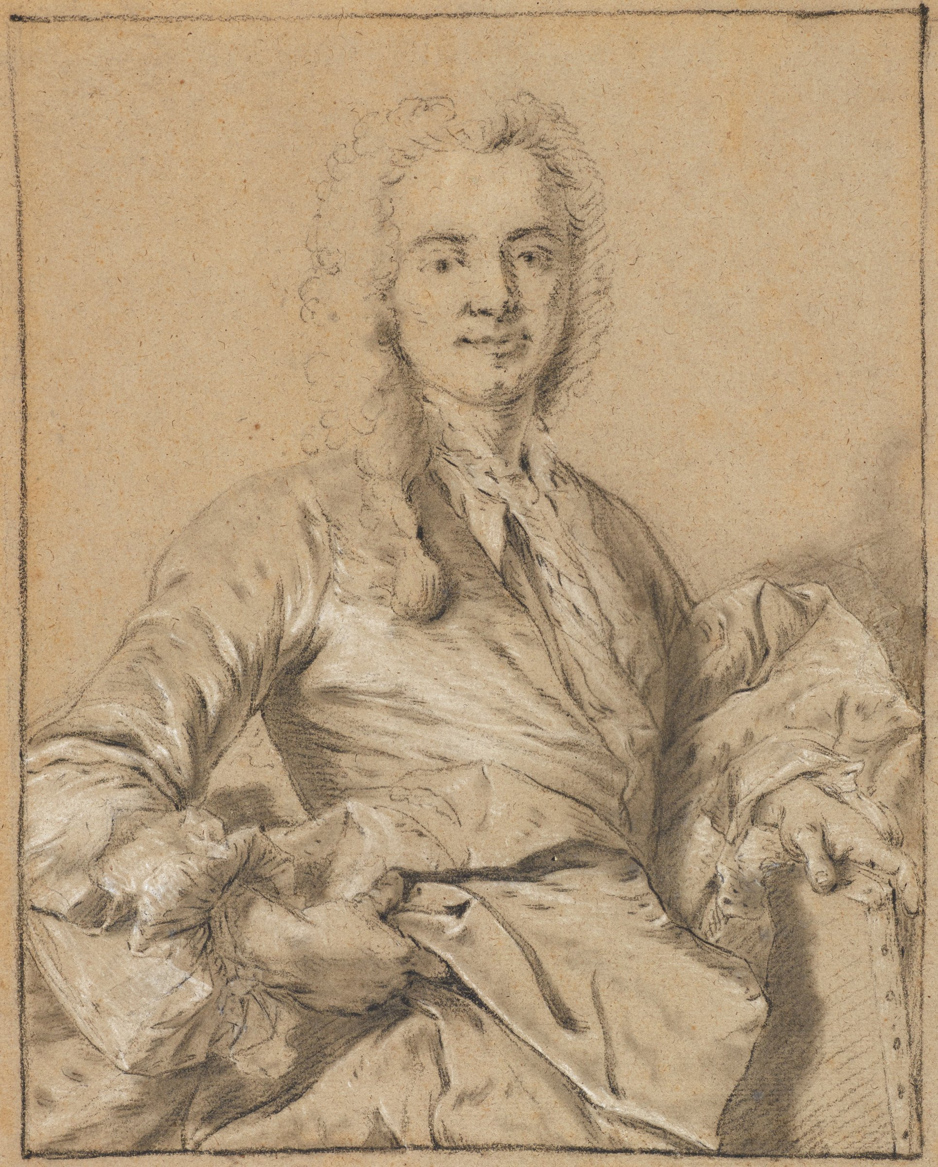 A gentleman seen in three-fourths view, his body twists slightly out to the viewer. He holds a canvas in his left hand.