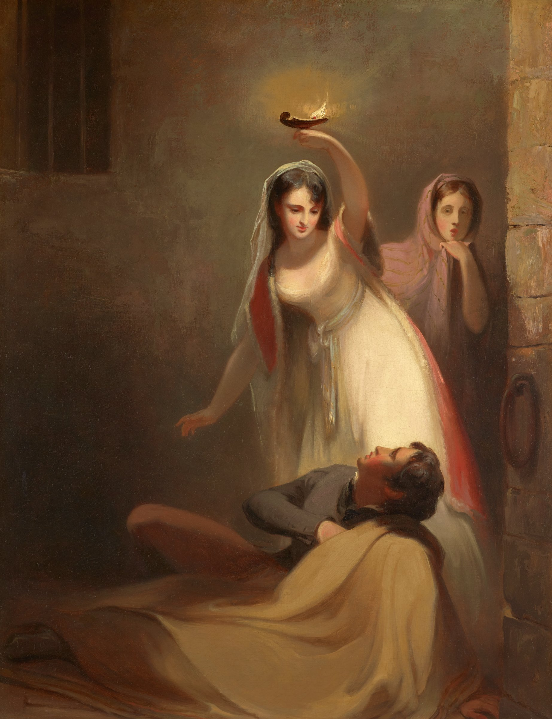 """Prison Scene from J. Fenimore Cooper's """"The Pilot"""": """"Cecelia Howard and Katherine Plowden arousing the prisoner Edward Griffith from his slumber."""", Thomas Sully, oil on canvas"""