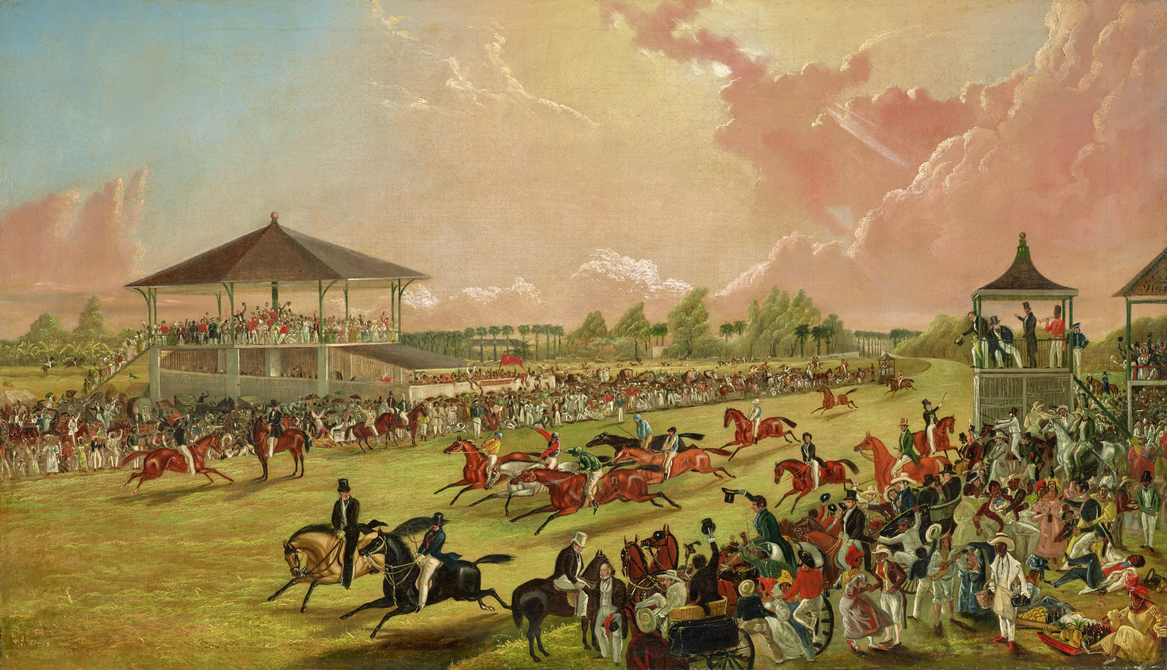 A Race Meeting at Jacksonville, Alabama, W. S. Hedges, oil on canvas