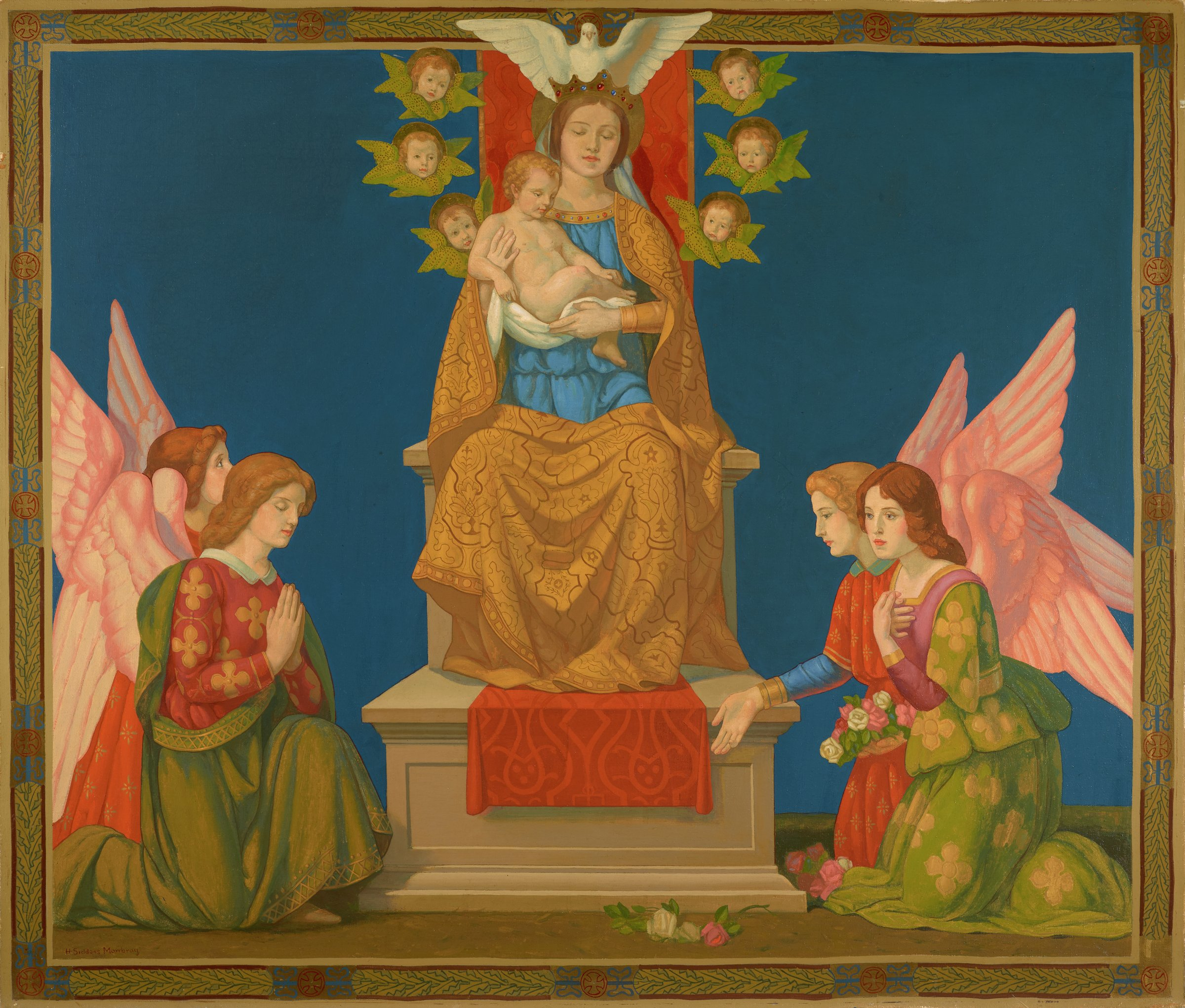 Madonna and Child Enthroned with Angels and Cherubs, Henry Siddons Mowbray, oil on canvas
