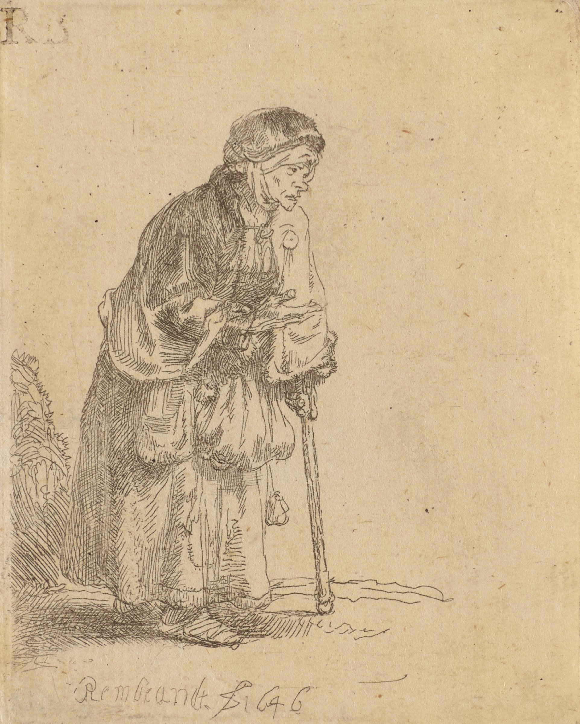 An elderly woman stands facing right leaning forward slightly, supporting herself on a cane.
