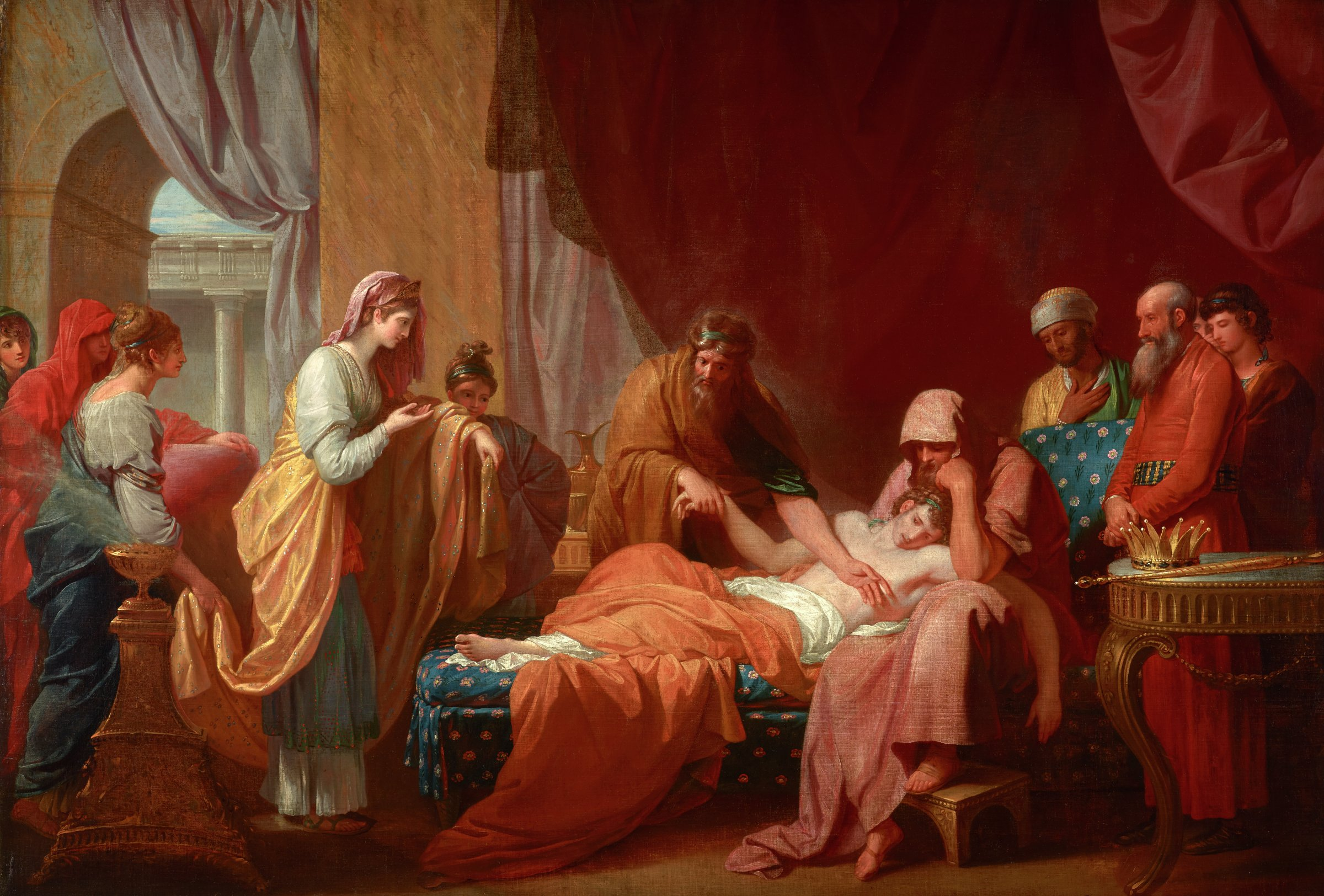 Erasistratus the Physician Discovers the Love of Antiochus for Stratonice, Benjamin West, oil on canvas