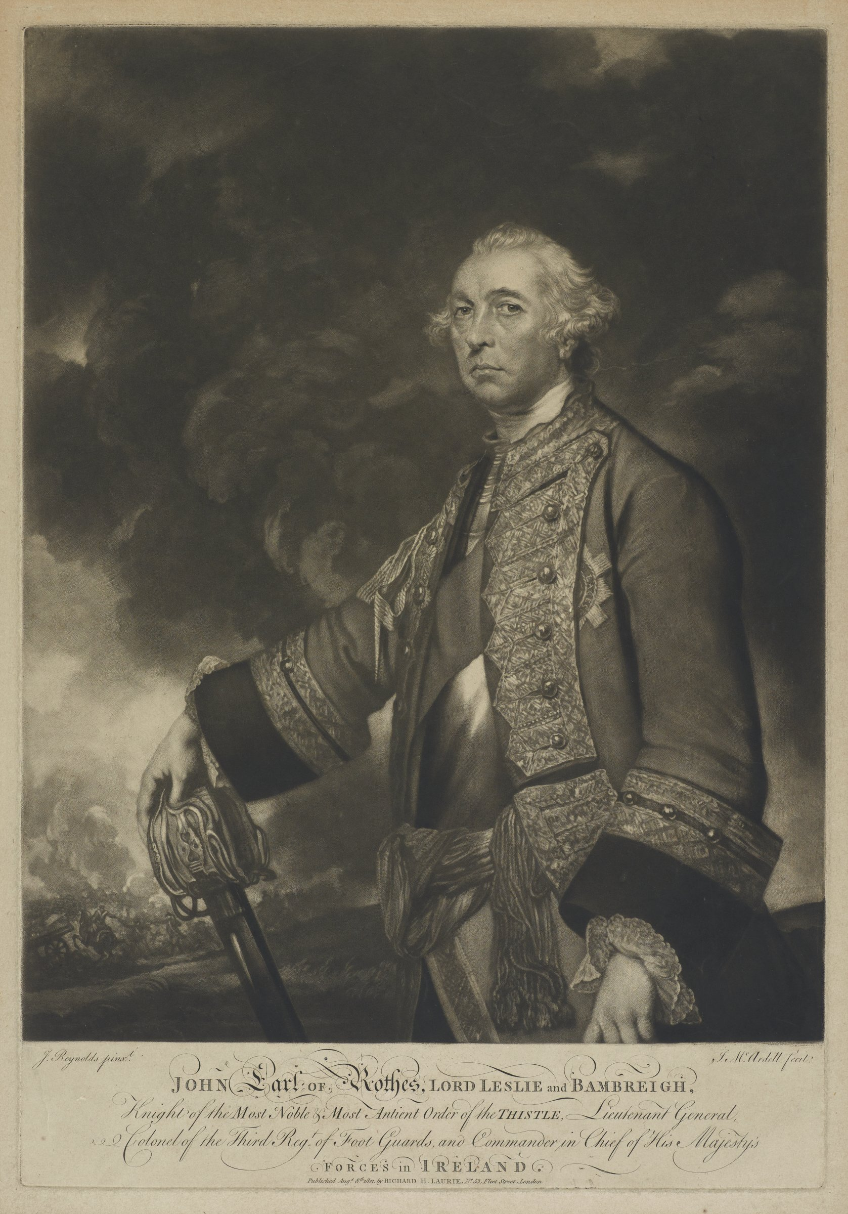 Three-fourths view portrait of John, Earl of Rothes. He is portrayed in uniform with his right hand resting on a weapon. A war scene is depicted behind him on the left.