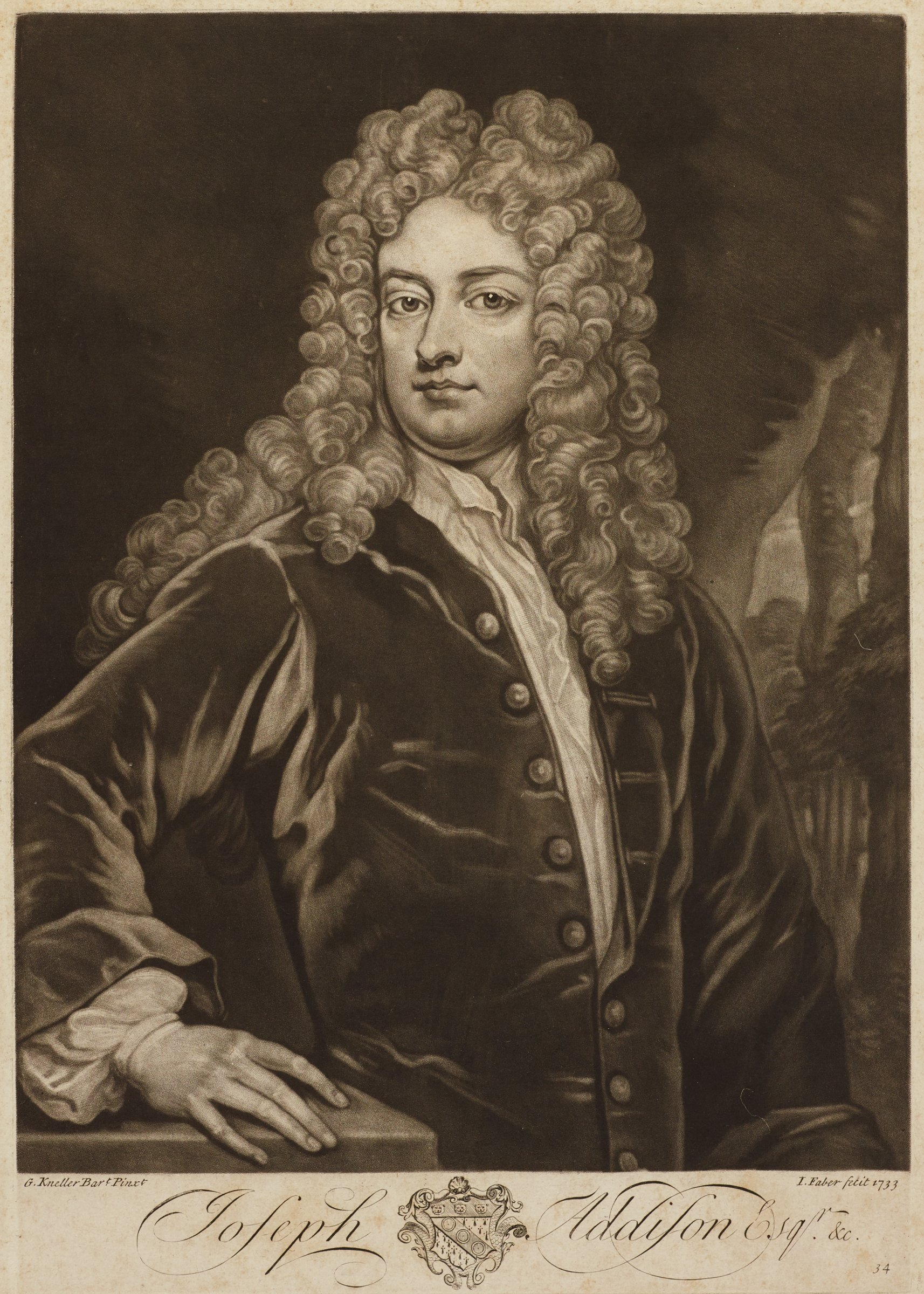 Half length portrait of Joseph Addison. He is portrayed with long curly hair wearing a jacket with horizontal embellishments and buttons along the center opening. He turns slightly to the right as he faces the viewer. Behind him on the right can be seen a narrow view of a landscape.
