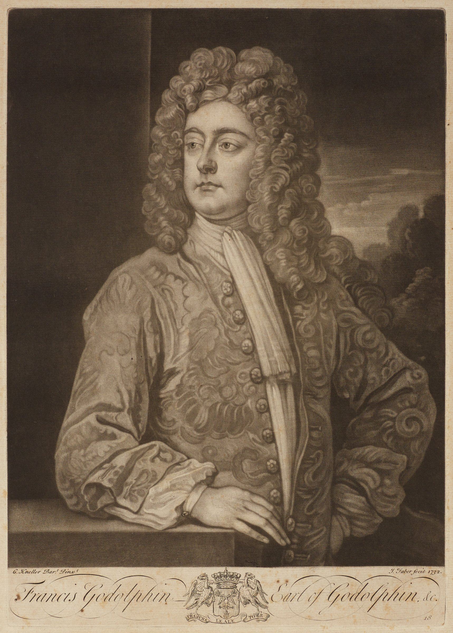 Half length portrait of Francis Godolphin. He is portrayed with long curly hair and floral jacket. His body faces the right as he turns his head to the left. A landscape is seen behind him on the right.