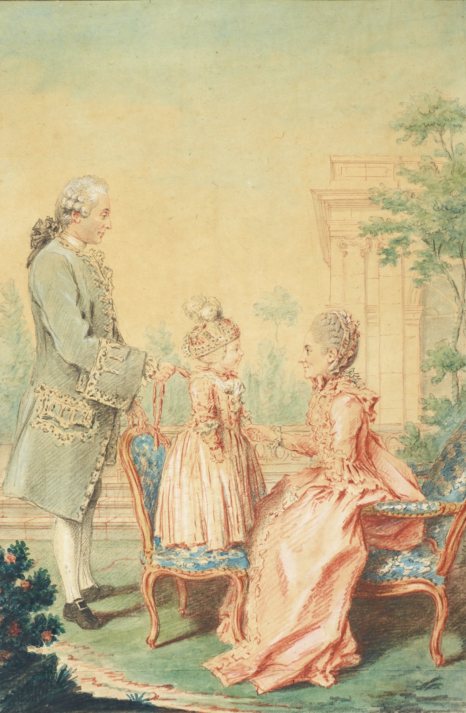 A family is portrayed in profile. On the right, a woman sits in a chair holding the hand of a young boy that stands in a chair in front of her. On the left, a man stands behind the young boy, holding onto his garment to stabilize him.
