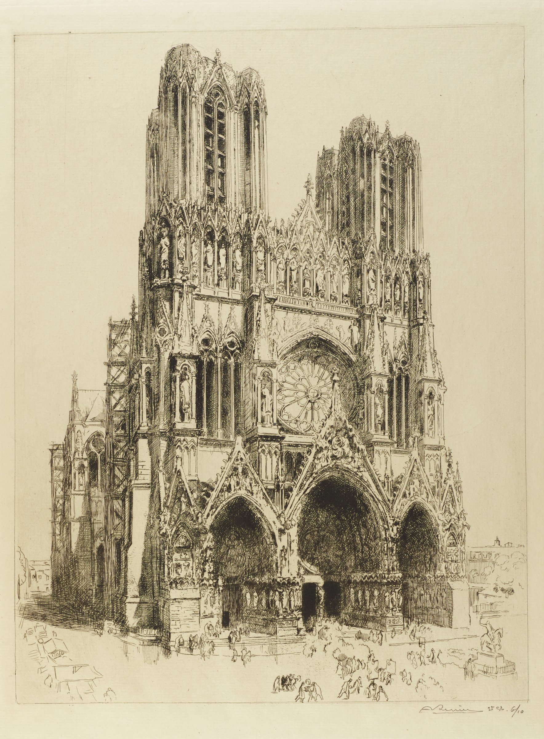 The facade of Reims Cathedral is shown. Outlines of figures populate the street below.