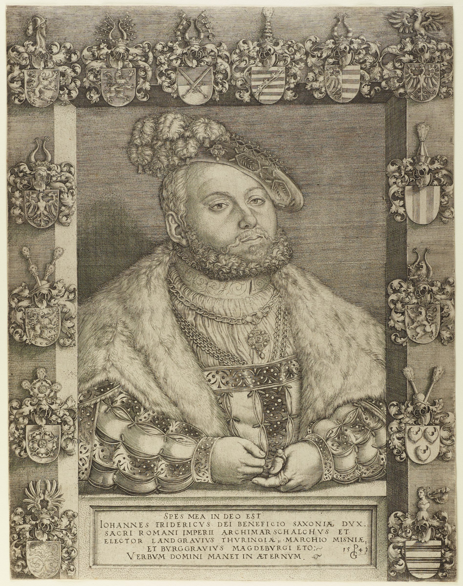 A portrait of Johann Friedrich I is seen through fictive window that is populated by fourteen coats-of-arms.