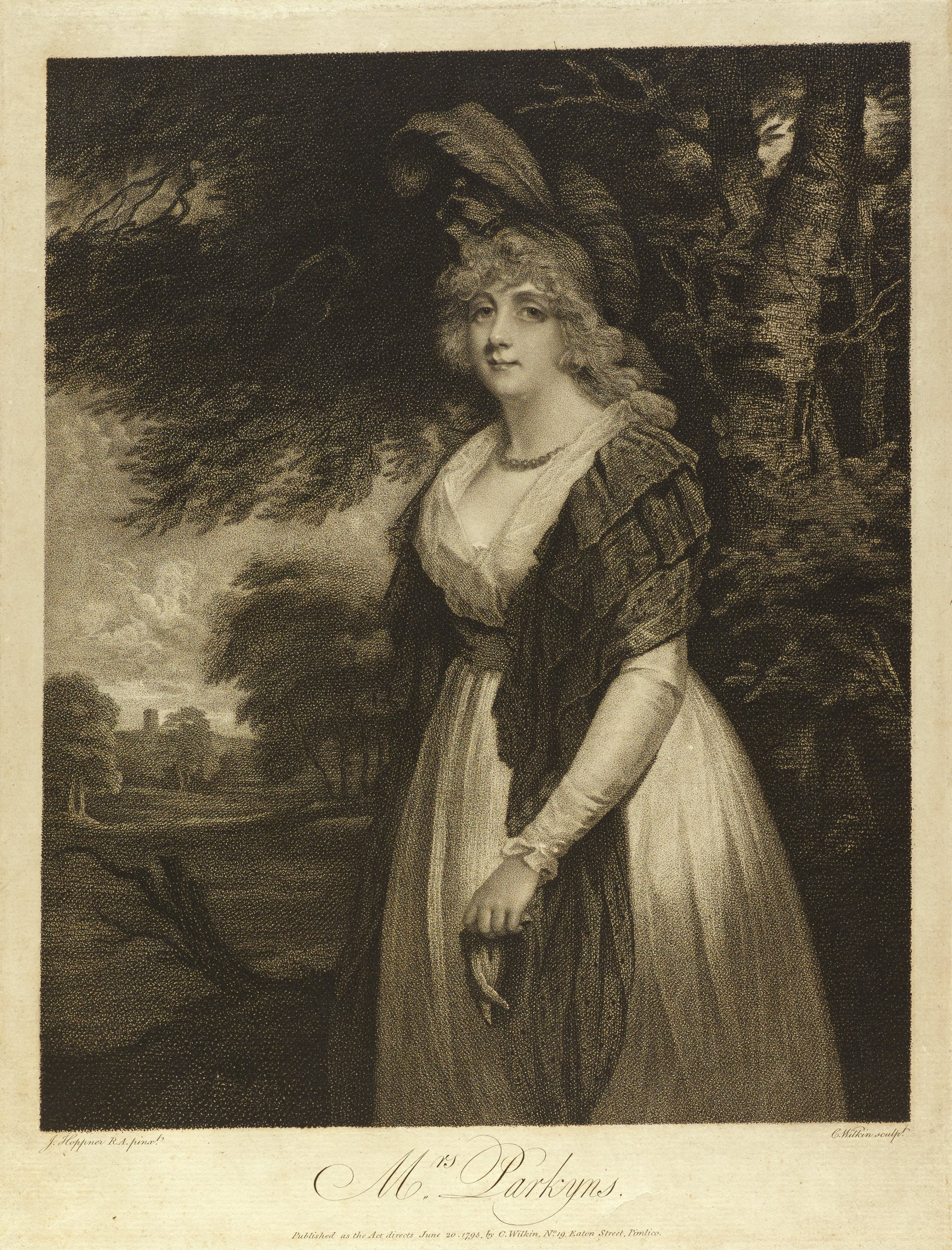Portrait of Elizabeth Anne Parkyns, almost full-length, wearing a dark shawl and a feathered cap, holding a glove, large trees to the right, landscape vista on the left.