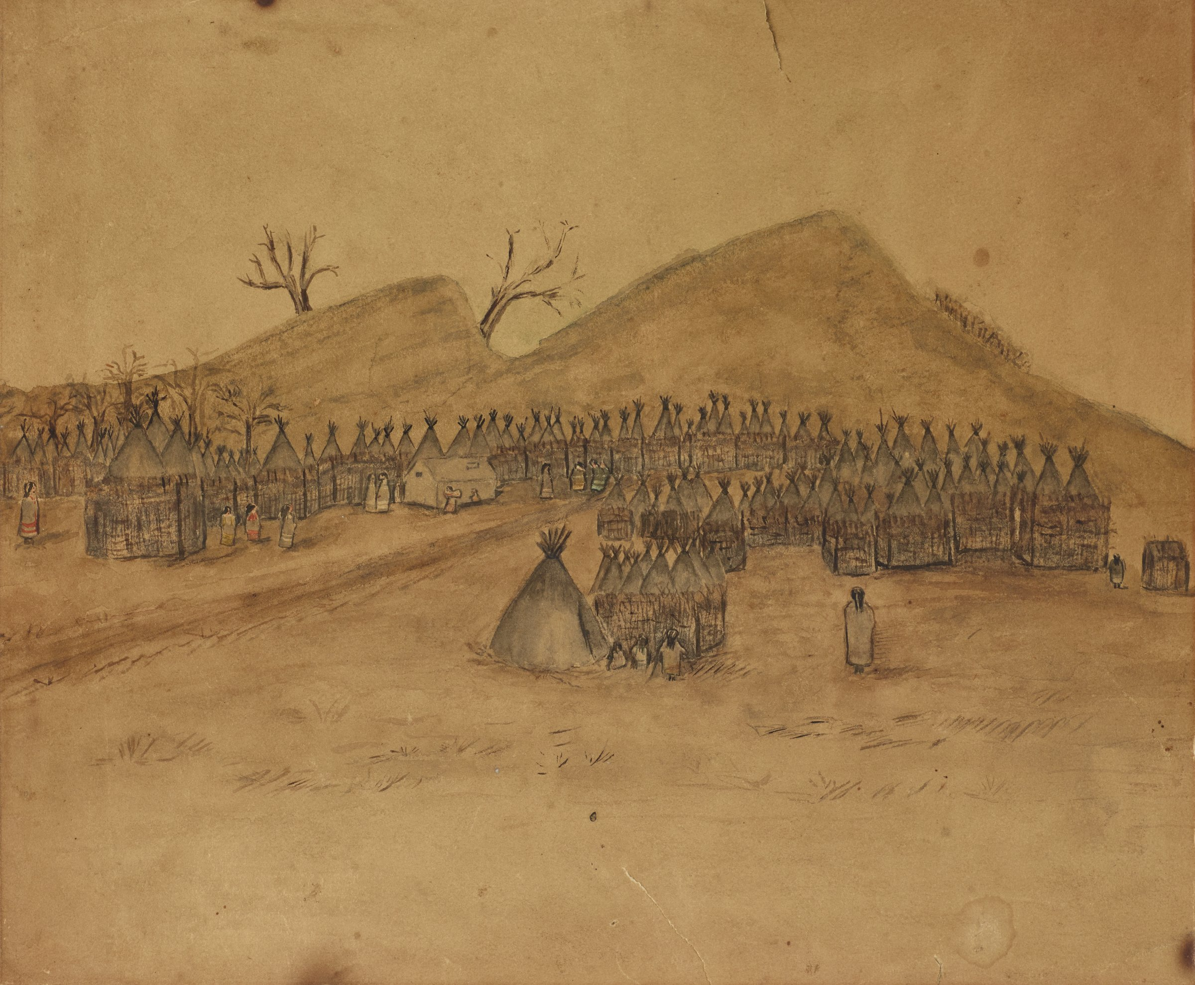 A gathering of Native American housing sits in front of two hills. Figures are dispersed throughout the scene. Two bare trees grow on the left hill.